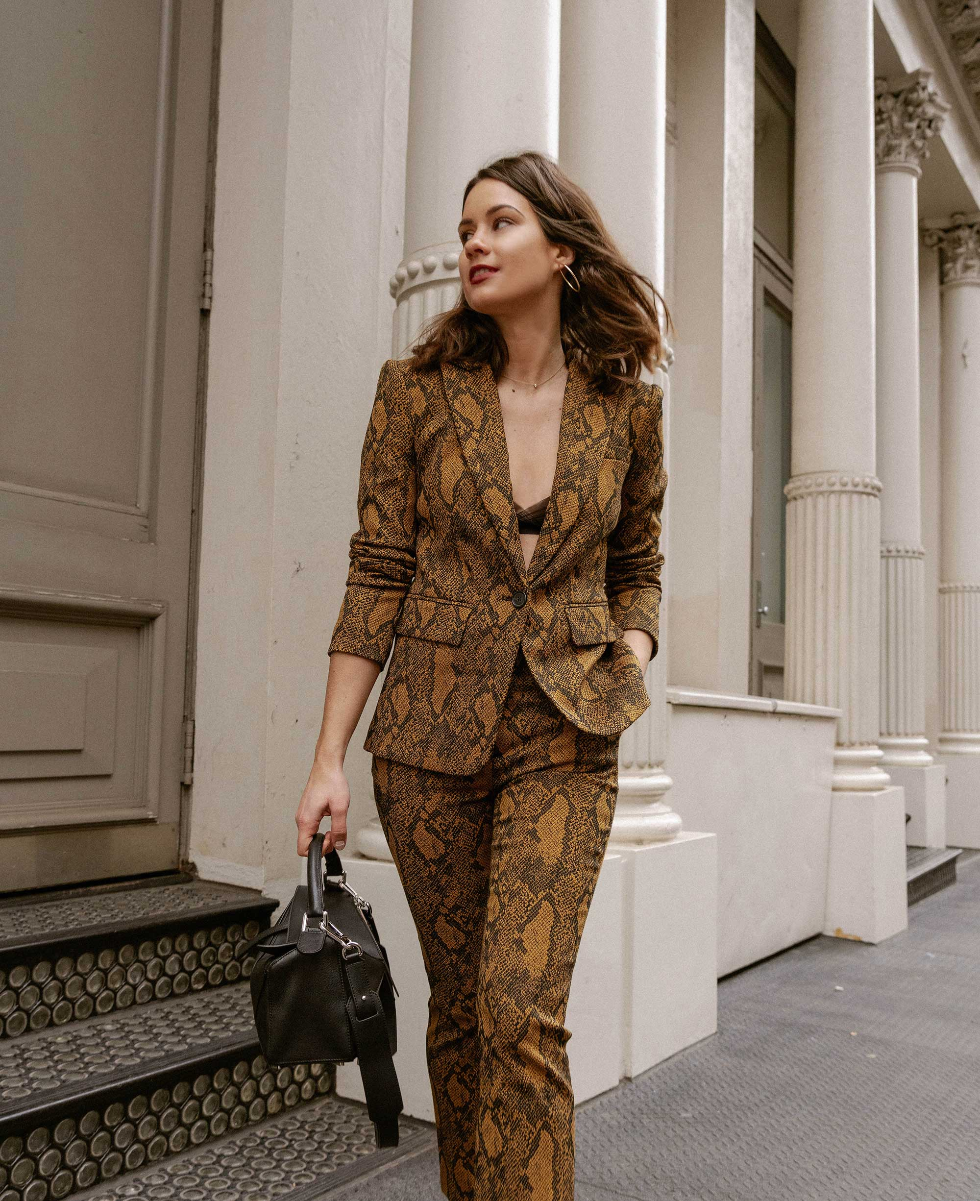 Sarah Butler of Sarah Styles Seattle wears Joie Anilah snakeskin print suit for New York Fashion Week  and Loewe Small Puzzle Shoulder Bag | @sarahchristine, Seattle Blogger10.jpg