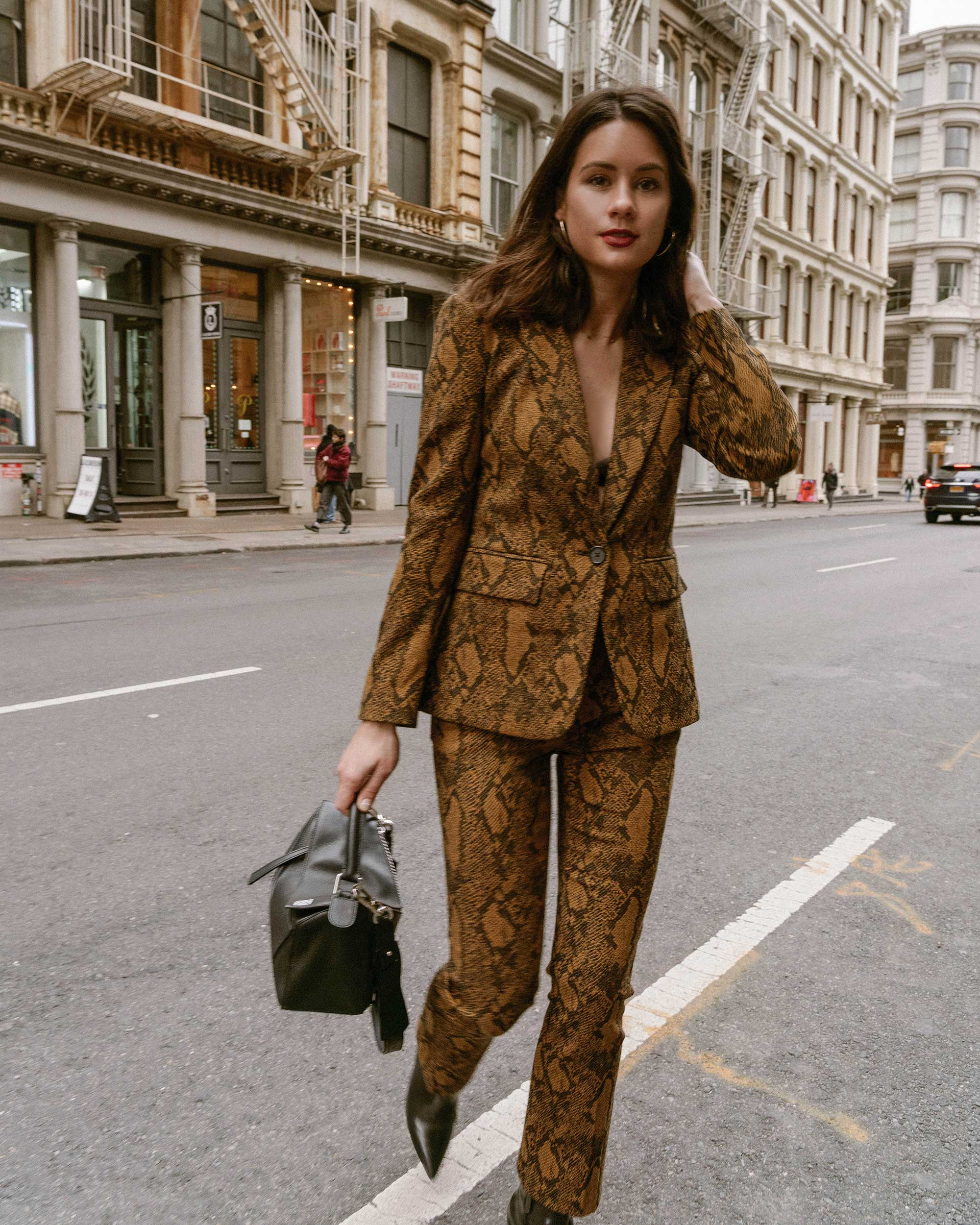 Sarah Butler of Sarah Styles Seattle wears Joie Anilah snakeskin print suit for New York Fashion Week  and Loewe Small Puzzle Shoulder Bag | @sarahchristine, Seattle Blogger5.jpg