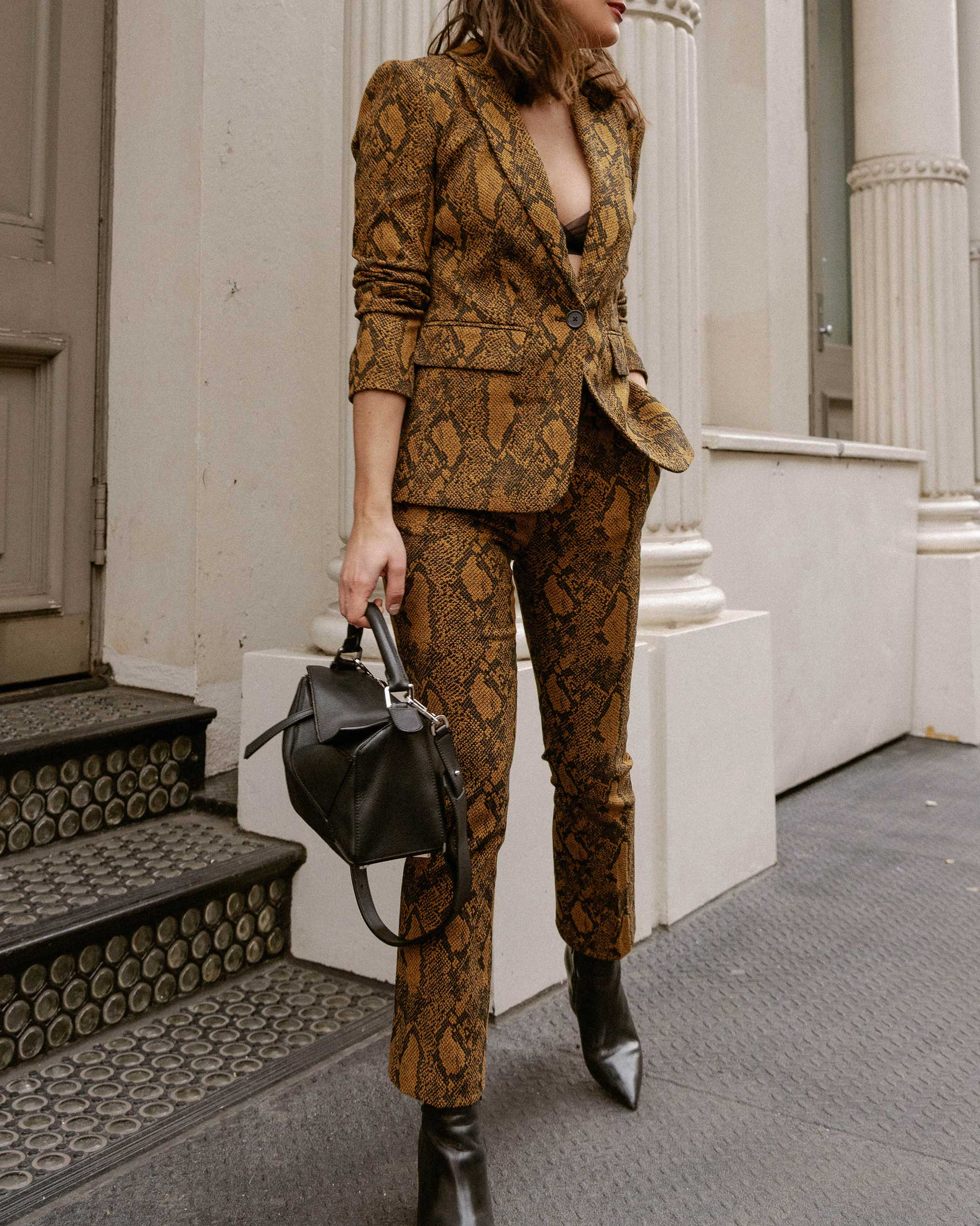 Sarah Butler of Sarah Styles Seattle wears Joie Anilah snakeskin print suit for New York Fashion Week  and Loewe Small Puzzle Shoulder Bag | @sarahchristine, Seattle Blogger9.jpg