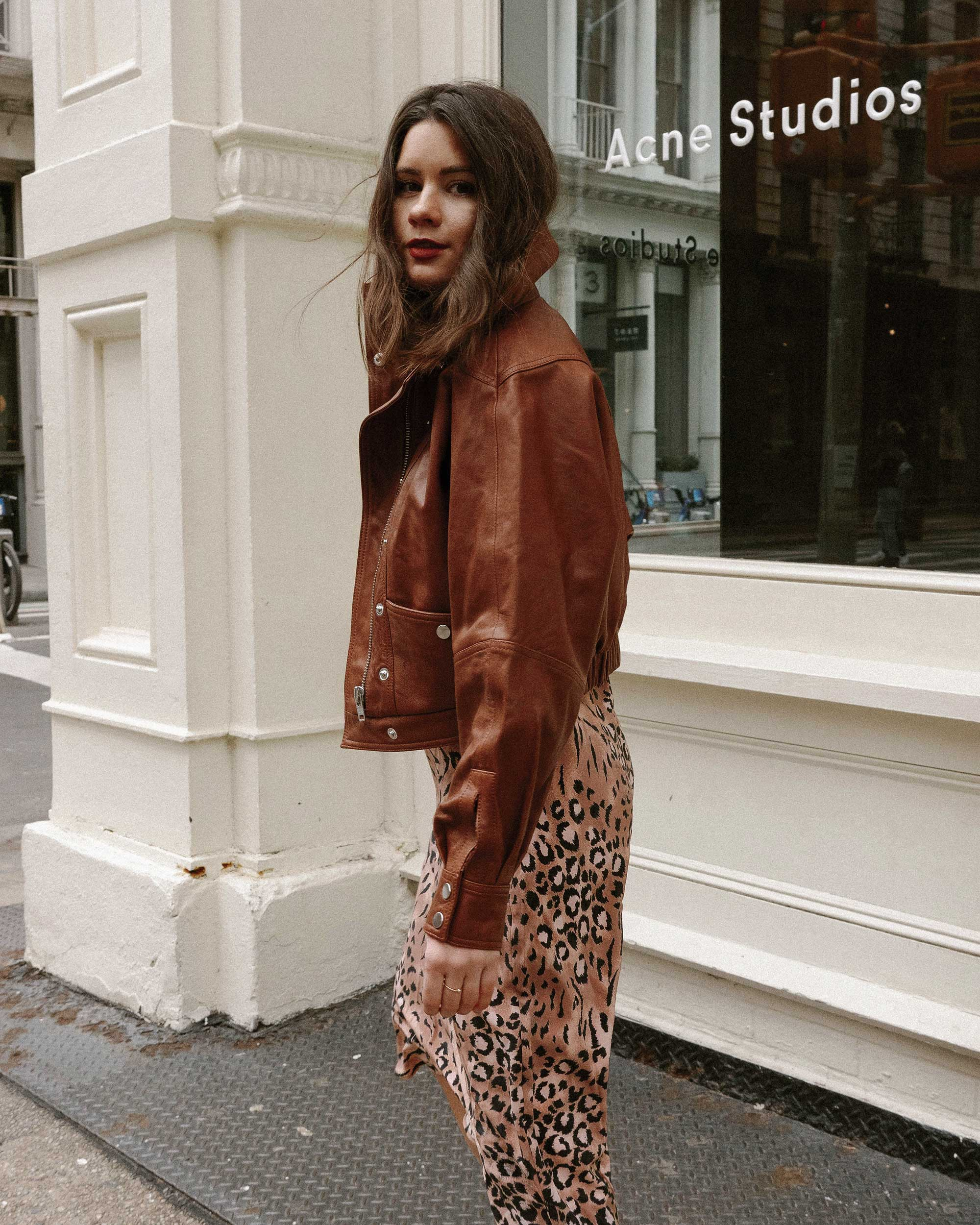 Sarah Butler of Sarah Styles Seattle wears PAIGE Cicely animal print slip dress and Revolve LPA oversized brown leather bomber jacket in Soho, New York | @sarahchristine, Seattle Blogger4.jpg