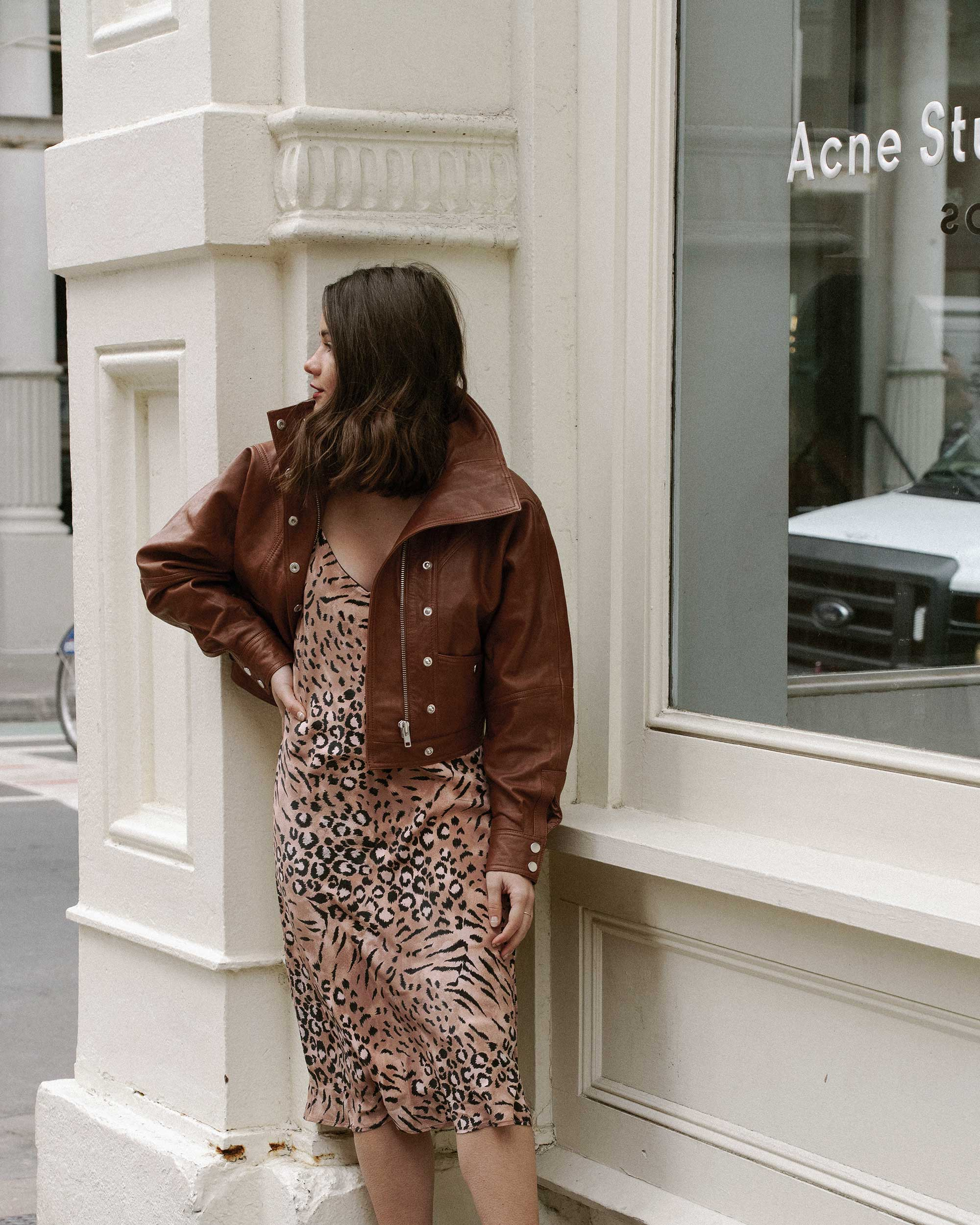 Sarah Butler of Sarah Styles Seattle wears PAIGE Cicely animal print slip dress and Revolve LPA oversized brown leather bomber jacket in Soho, New York | @sarahchristine, Seattle Blogger5.jpg