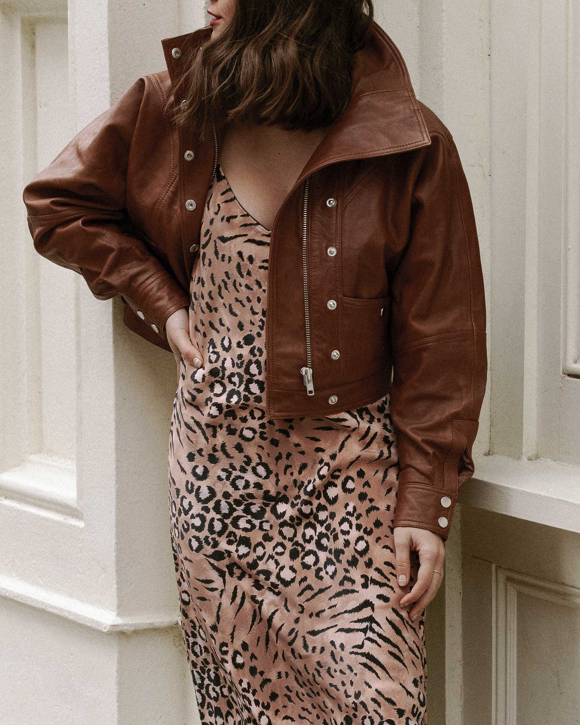 Sarah Butler of Sarah Styles Seattle wears PAIGE Cicely animal print slip dress and Revolve LPA oversized brown leather bomber jacket in Soho, New York | @sarahchristine, Seattle Blogger 0.jpg