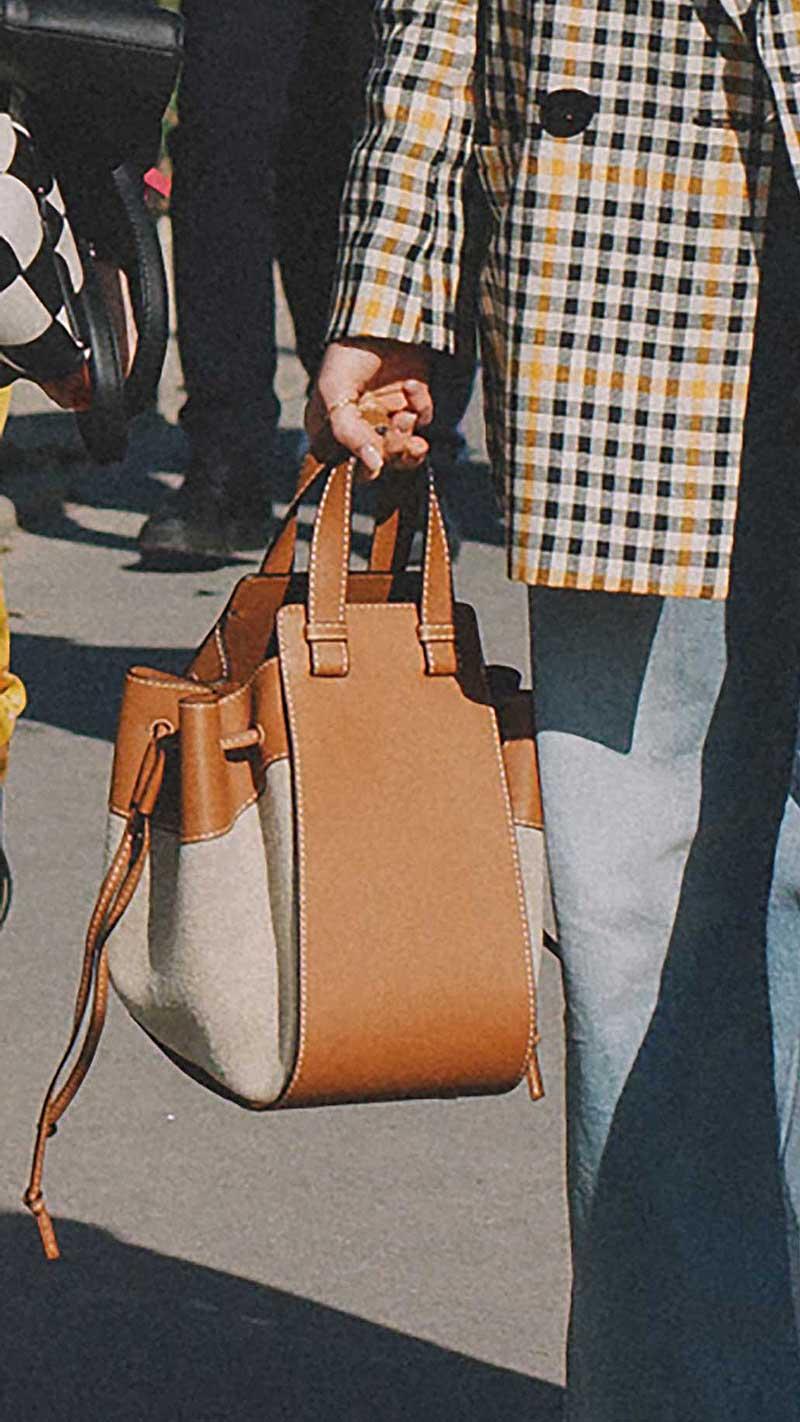 10. Loewe - Hammock drawstring linen & leather hobo