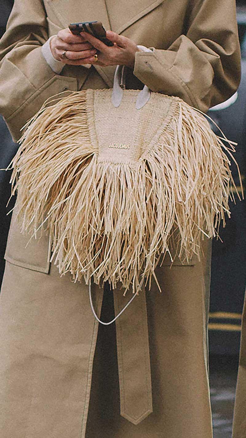 9. Jacquemus - Le baci leather-trimmed fringed raffia tote