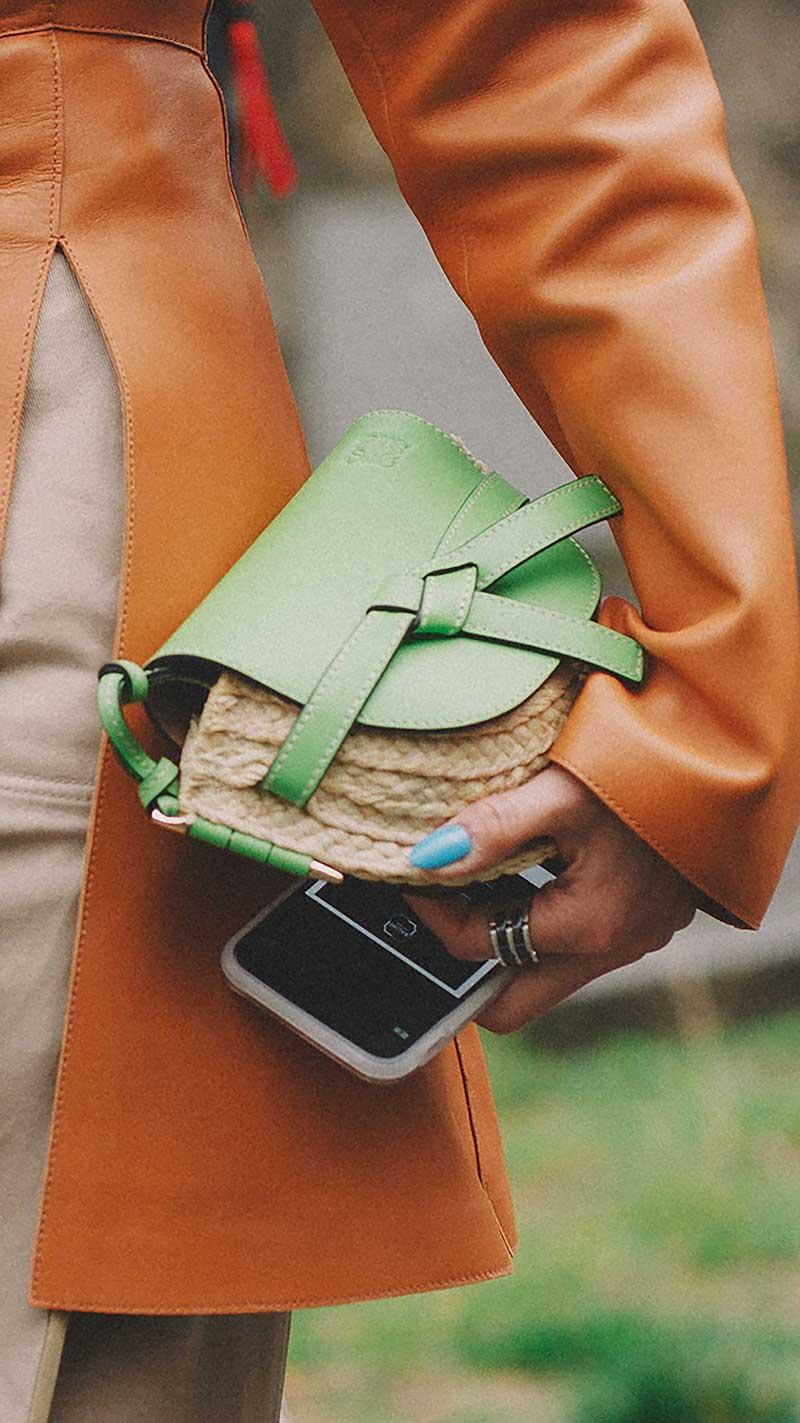 15. Loewe - Gate mini leather and woven raffia shoulder bag