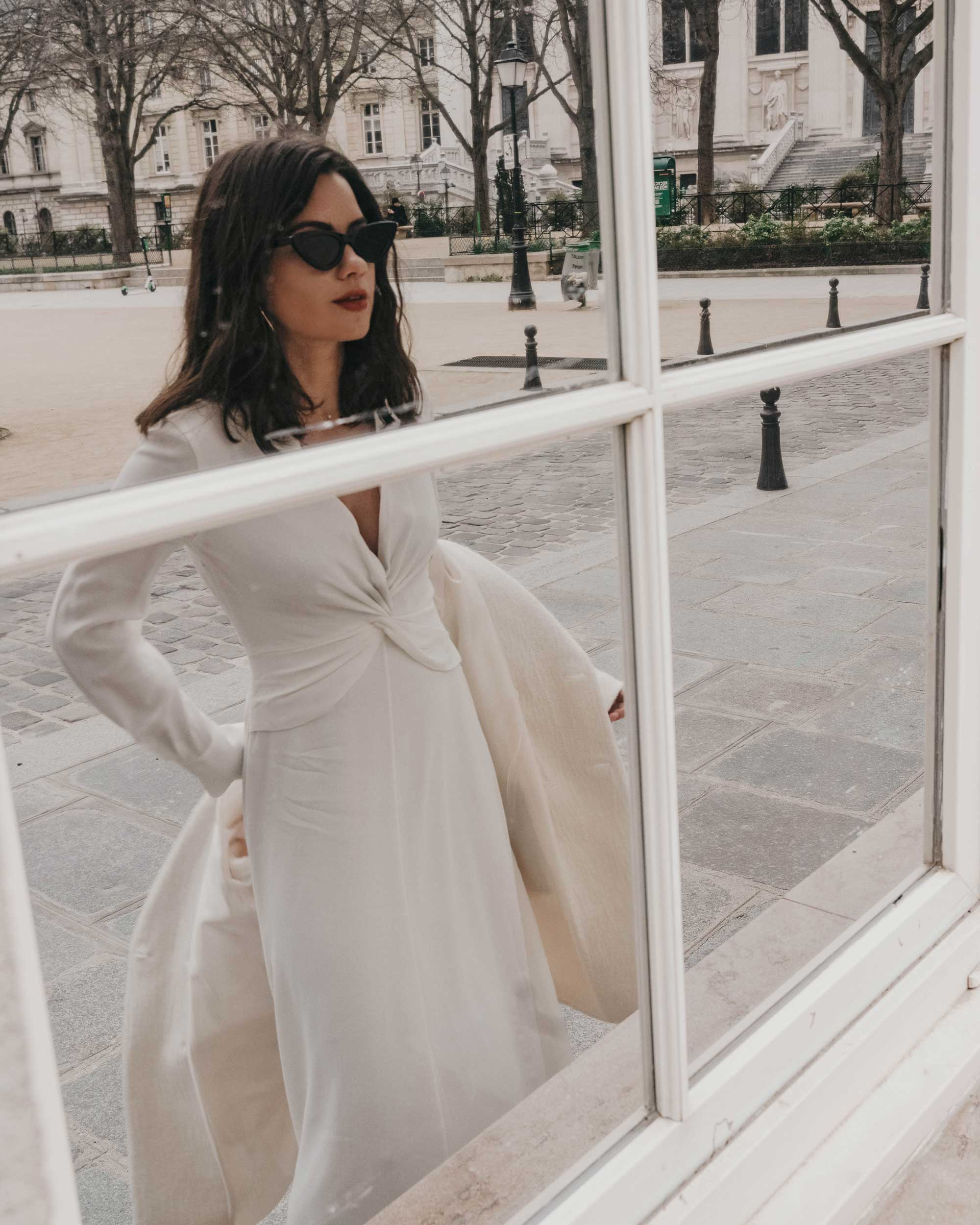 Sarah Butler of Sarah Styles Seattle wears Equipment Faun crepe midi dress with a flatteringly knotted front and plunging neckline in Paris, France | @sarahchristine, Seattle Blogger - 4.jpg