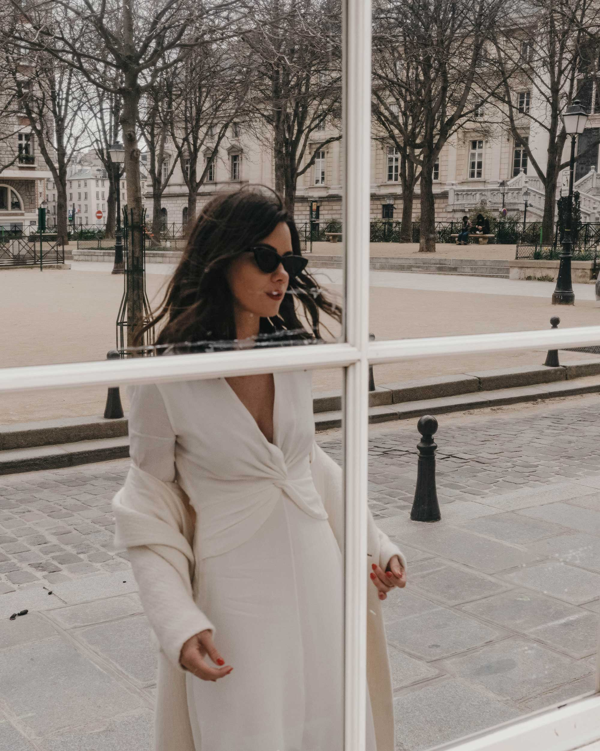 Sarah Butler of Sarah Styles Seattle wears Equipment Faun crepe midi dress with a flatteringly knotted front and plunging neckline in Paris, France | @sarahchristine, Seattle Blogger - 2.jpg