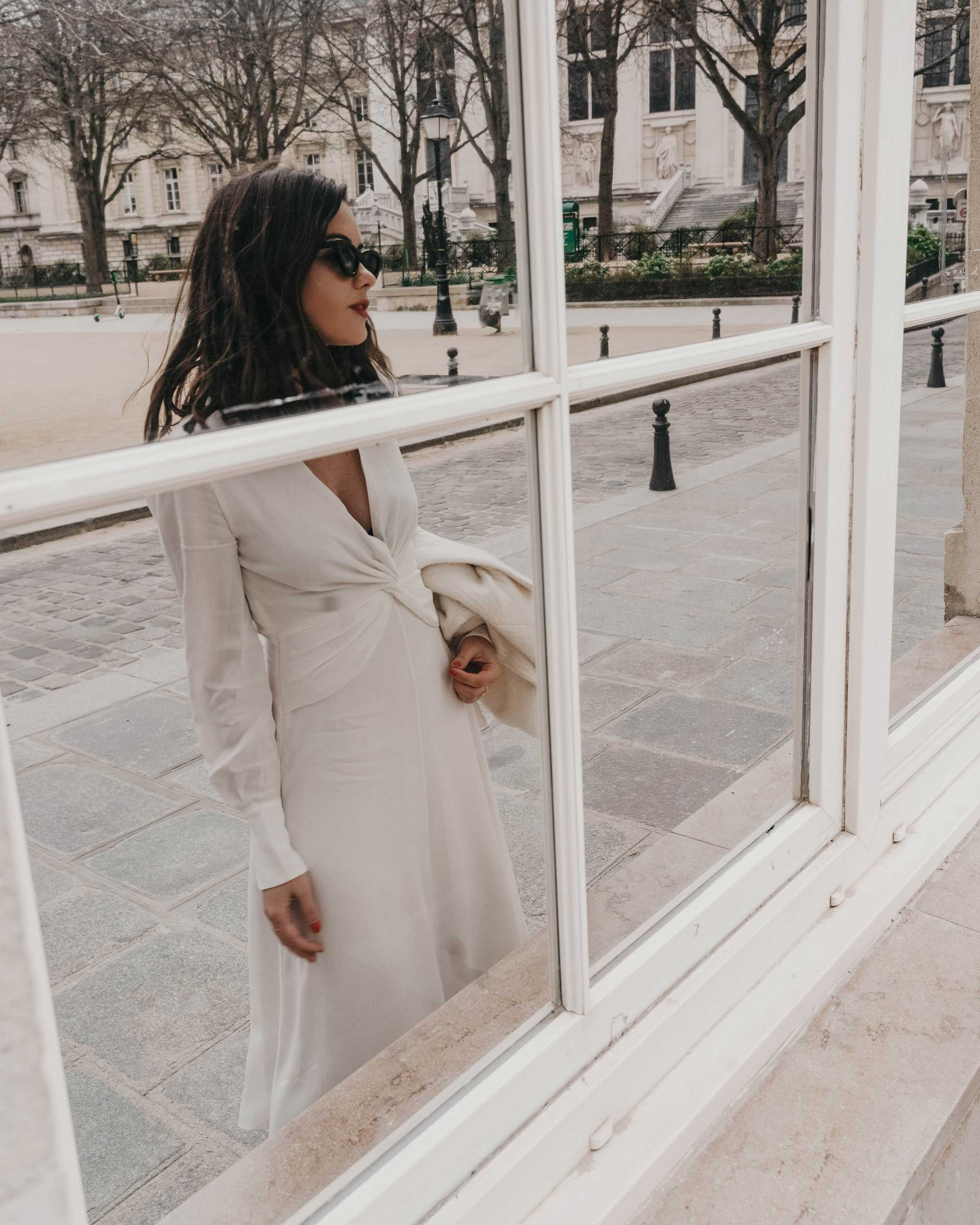 Sarah Butler of Sarah Styles Seattle wears Equipment Faun crepe midi dress with a flatteringly knotted front and plunging neckline in Paris, France | @sarahchristine, Seattle Blogger - 3.jpg