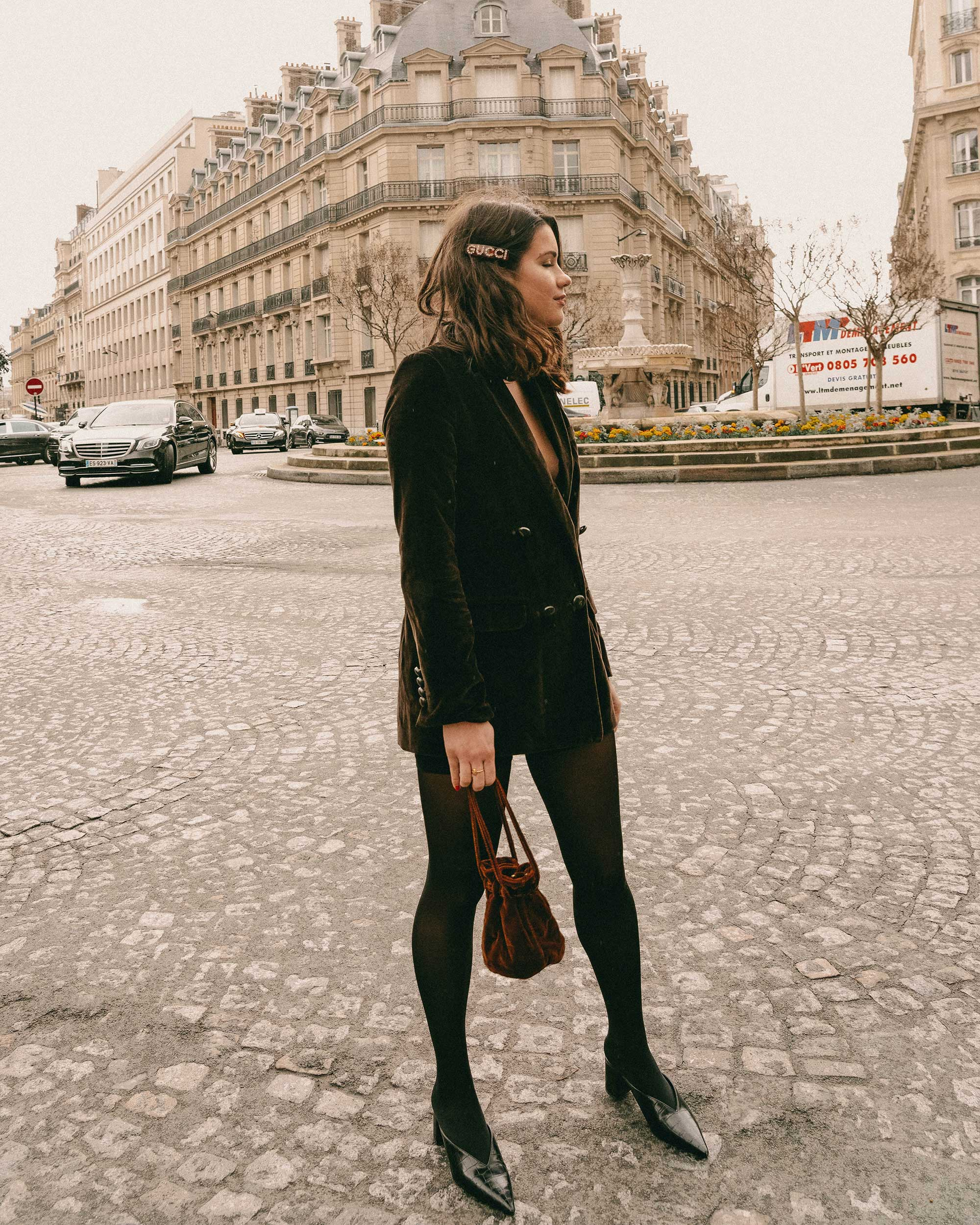 Sarah Butler of Sarah Styles Seattle wears Sezane Christie brown velvet blazer with tights and Crystal Gucci single hair barrette in Paris, France | @sarahchristine, Seattle Blogger-1.jpg