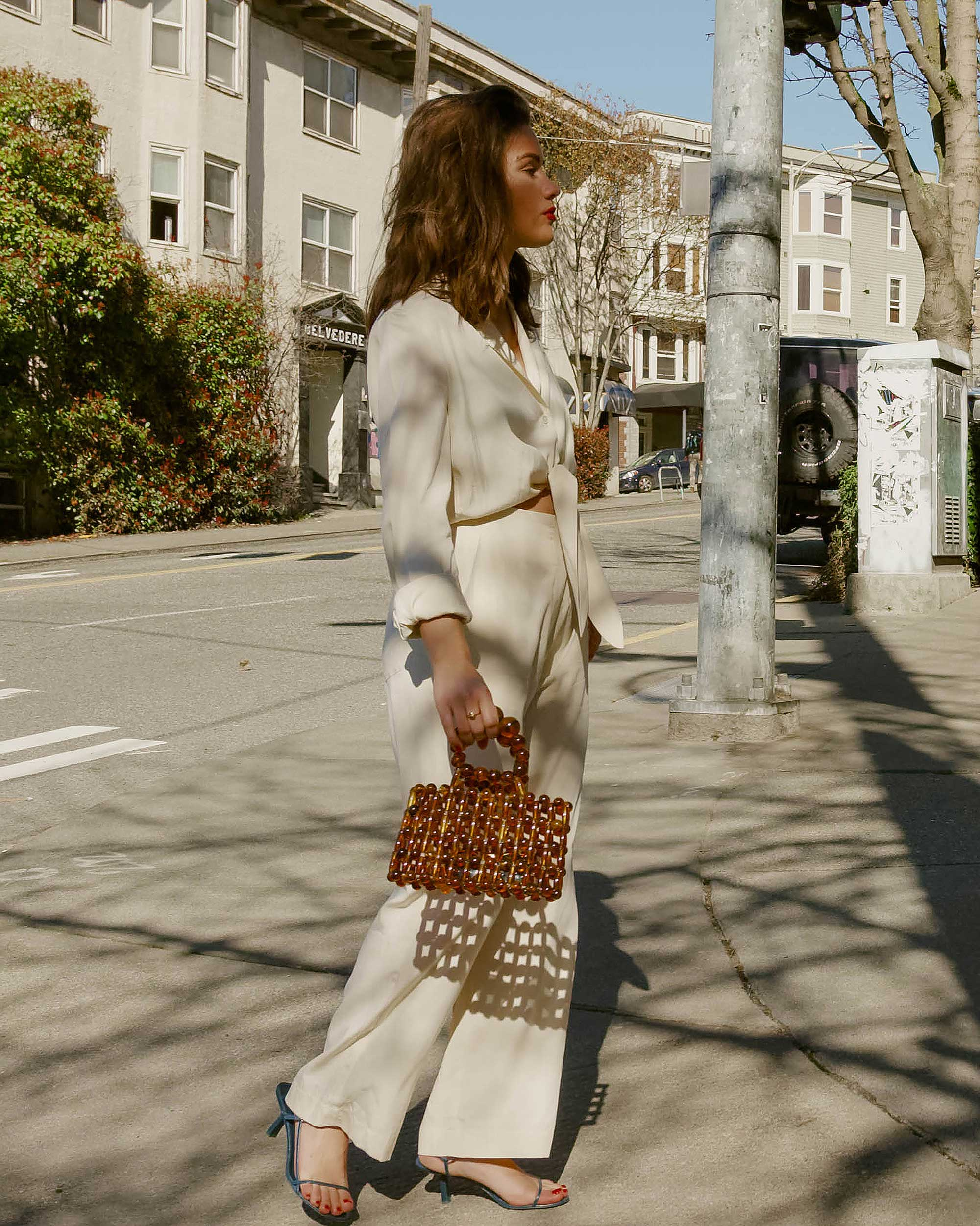 Sarah Butler of Sarah Styles Seattle wears Nanushka Long sleeve Tanya Tie-Front Jumpsuit and Cult Gaia Acrylic Cora Clutch in tortoise shell brown in Seattle | @sarahchristine, Seattle Blogger7.jpg
