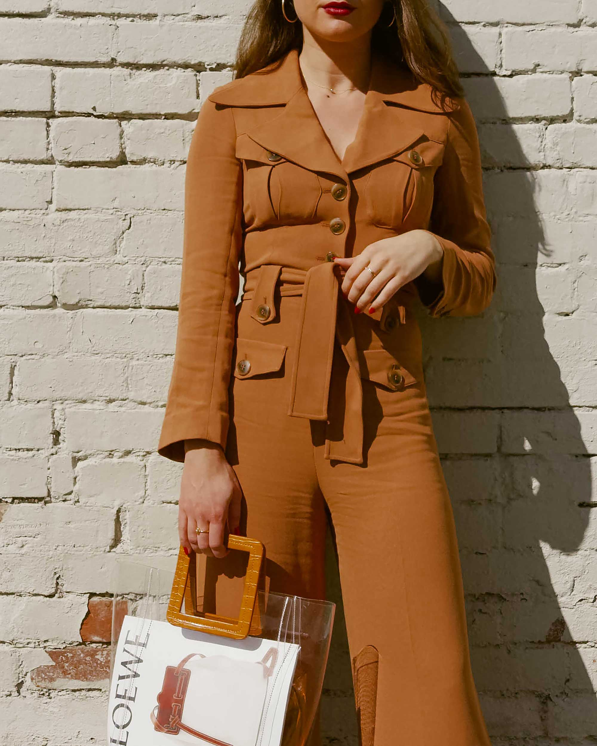 Sarah Butler of Sarah Styles Seattle wears & Other Stories Long Sleeve Belted Camel Jumpsuit and Staud Transparent Handbag in Seattle | @sarahchristine, Seattle Blogger - 5.jpg