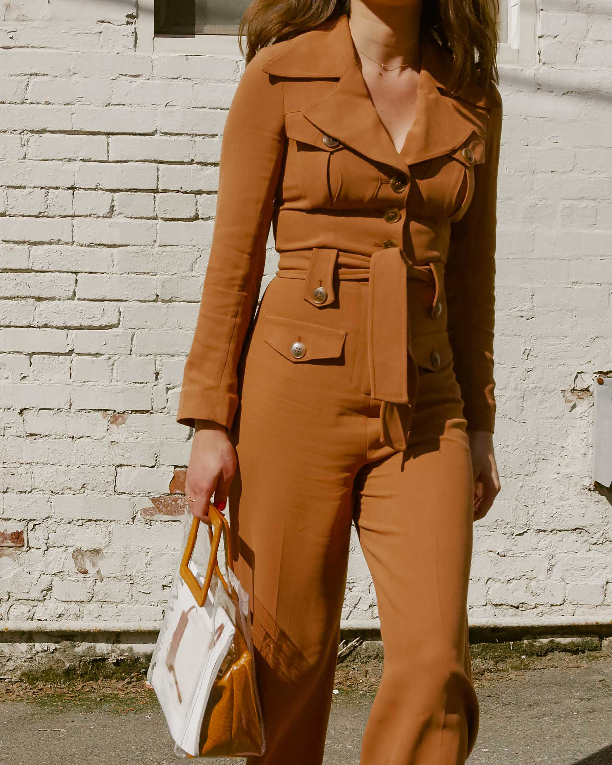 Sarah Butler of Sarah Styles Seattle wears & Other Stories Long Sleeve Belted Camel Jumpsuit and Staud Transparent Handbag in Seattle | @sarahchristine, Seattle Blogger - 7.jpg