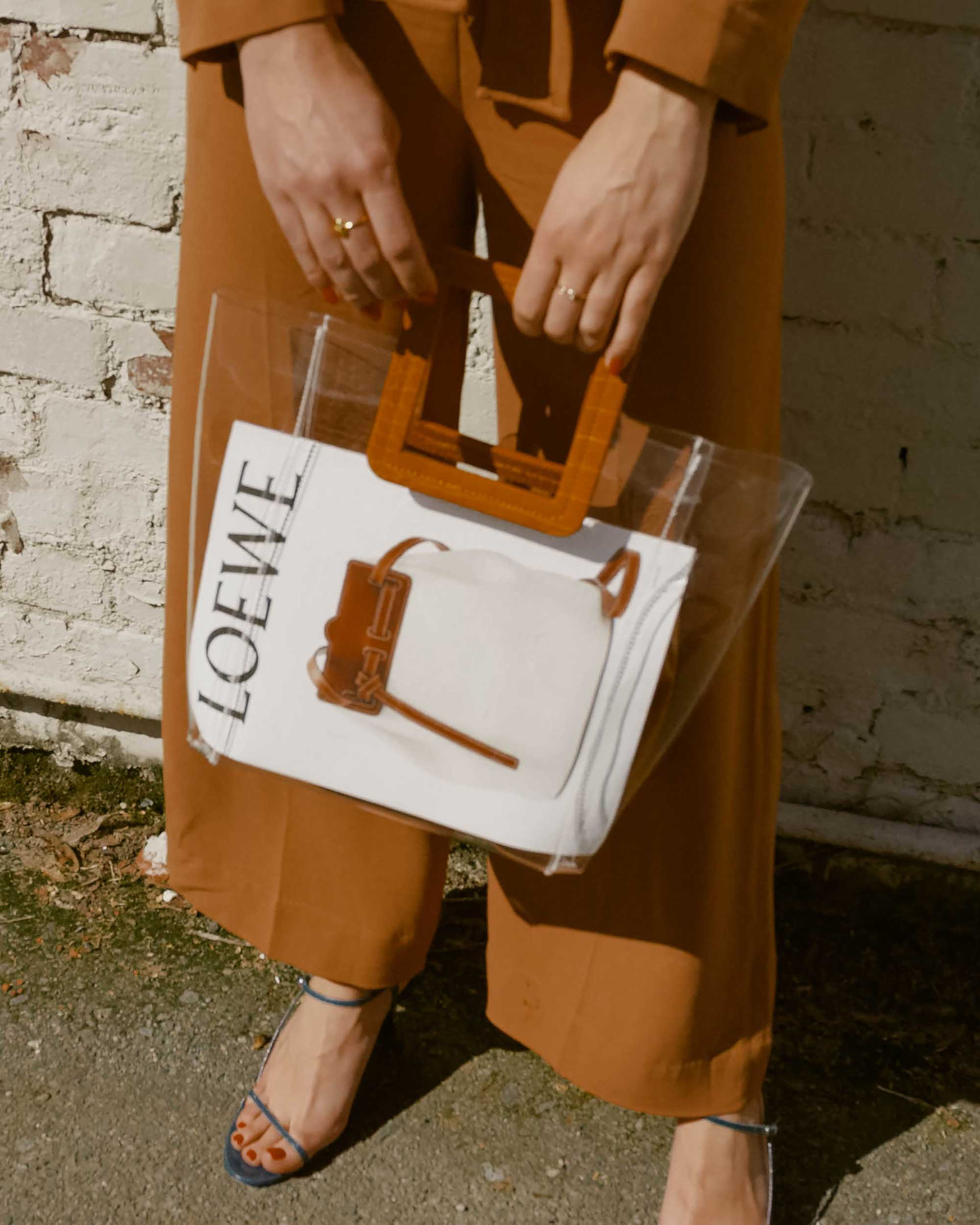 Sarah Butler of Sarah Styles Seattle wears & Other Stories Long Sleeve Belted Camel Jumpsuit and Staud Transparent Handbag in Seattle | @sarahchristine, Seattle Blogger - 12.jpg