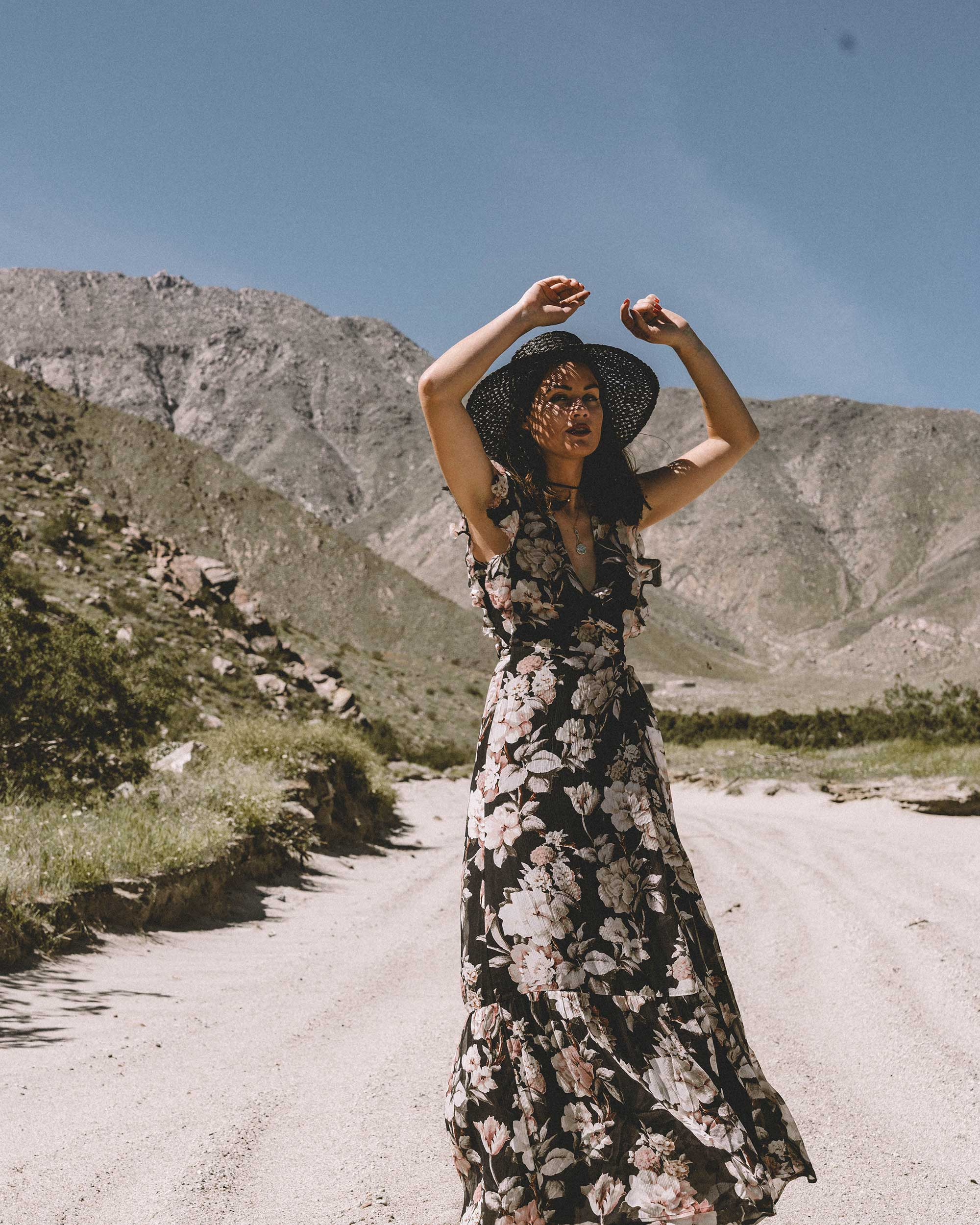 Sarah Butler of Sarah Styles Seattle wears Paige Maquel Silk Floral Maxi Wrap Dress in Palm Springs for Coachella Festival Outfit | @sarahchristine, Seattle Blogger3.jpg