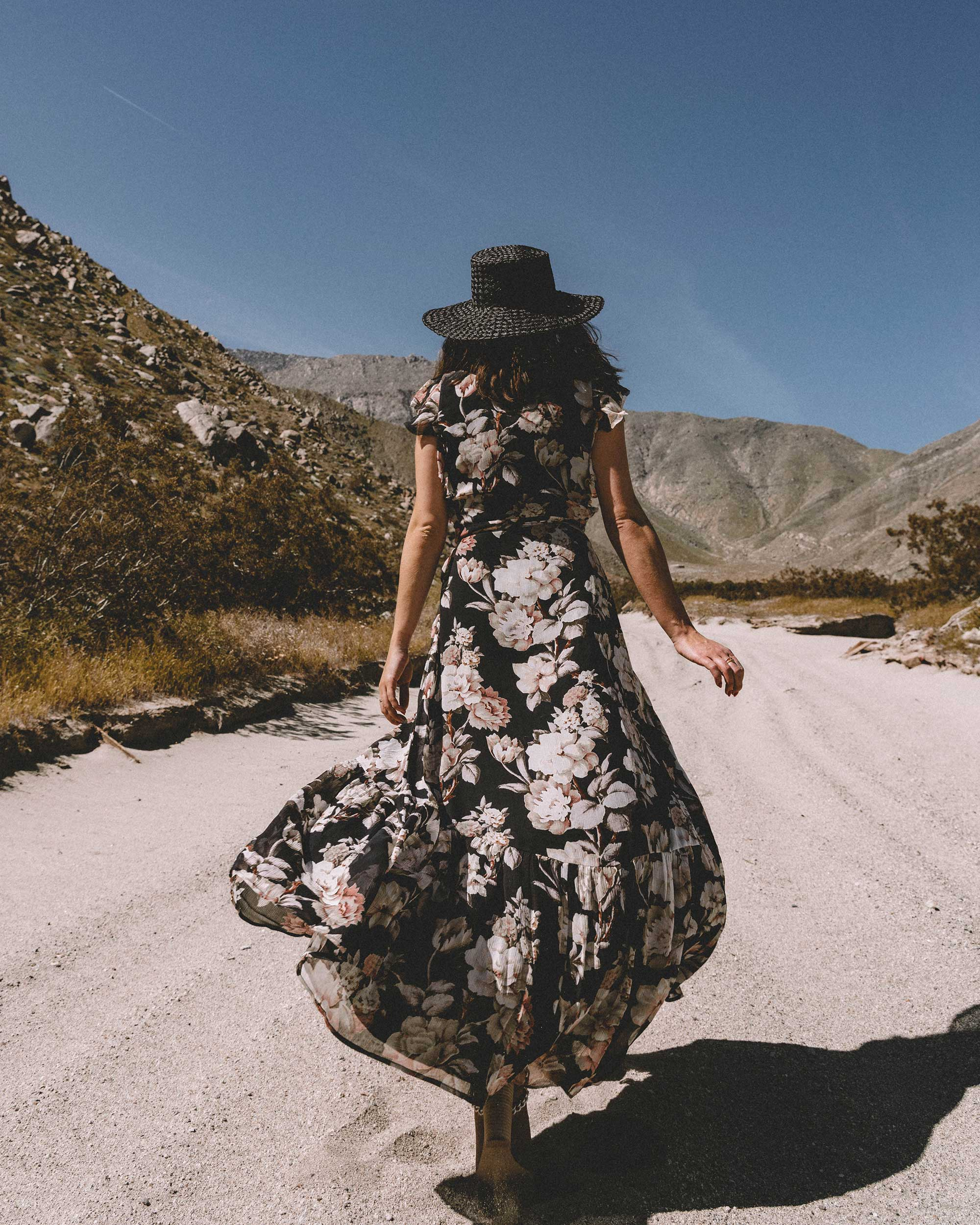 Desert Flower - Paige Maquel silk floral maxi wrap dress in Palm Springs for Coachella festival outfit