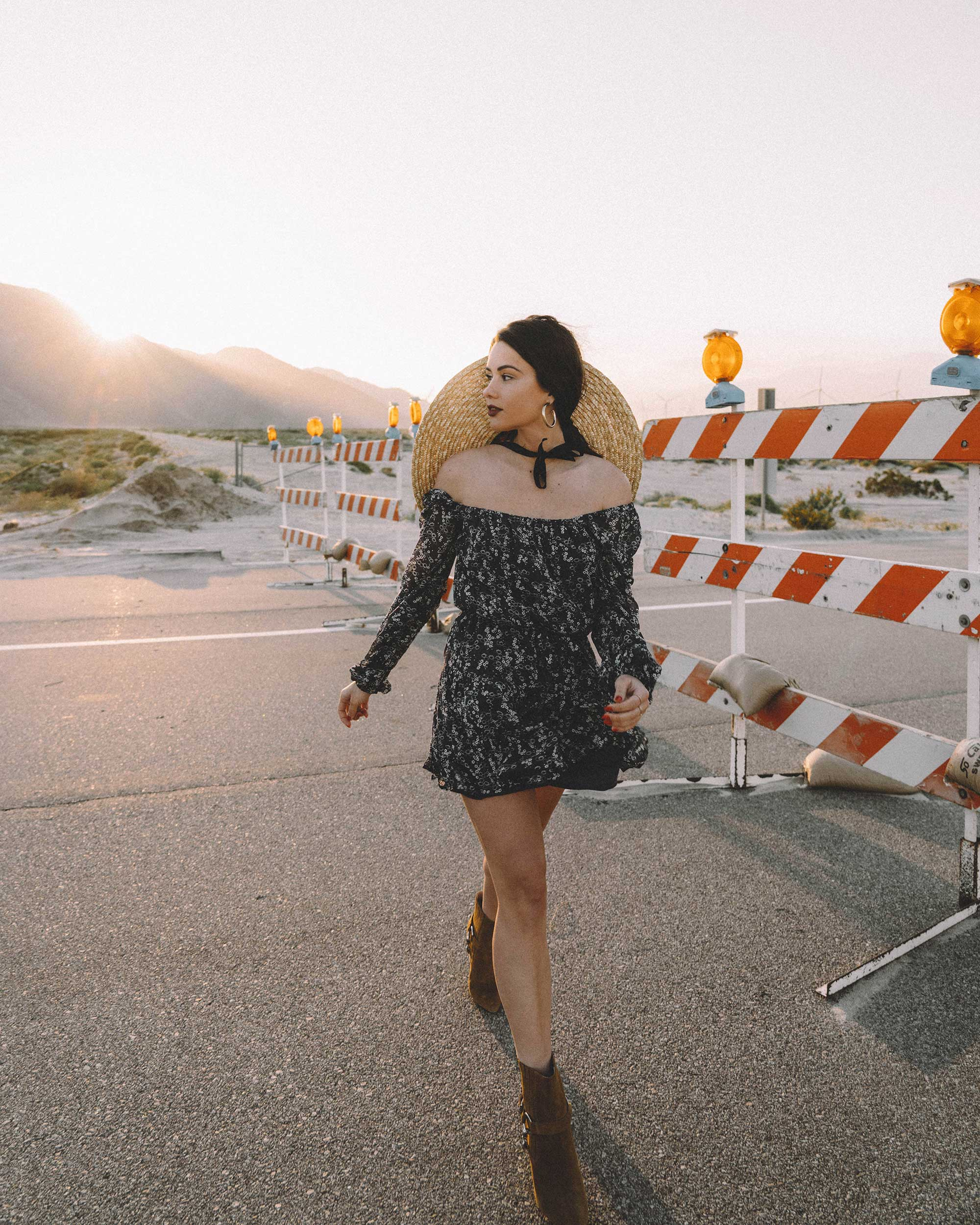 Sarah Butler of Sarah Styles Seattle wears PAIGE Marjoram Long-Sleeve Blue Floral Mini Dress, & Other Stories Round Top Straw Hat with ribbon neck ties, Paige Suede Western Boot in Palm Springs for Coachella Festival Outfit | @sarahchristine -1.jpg