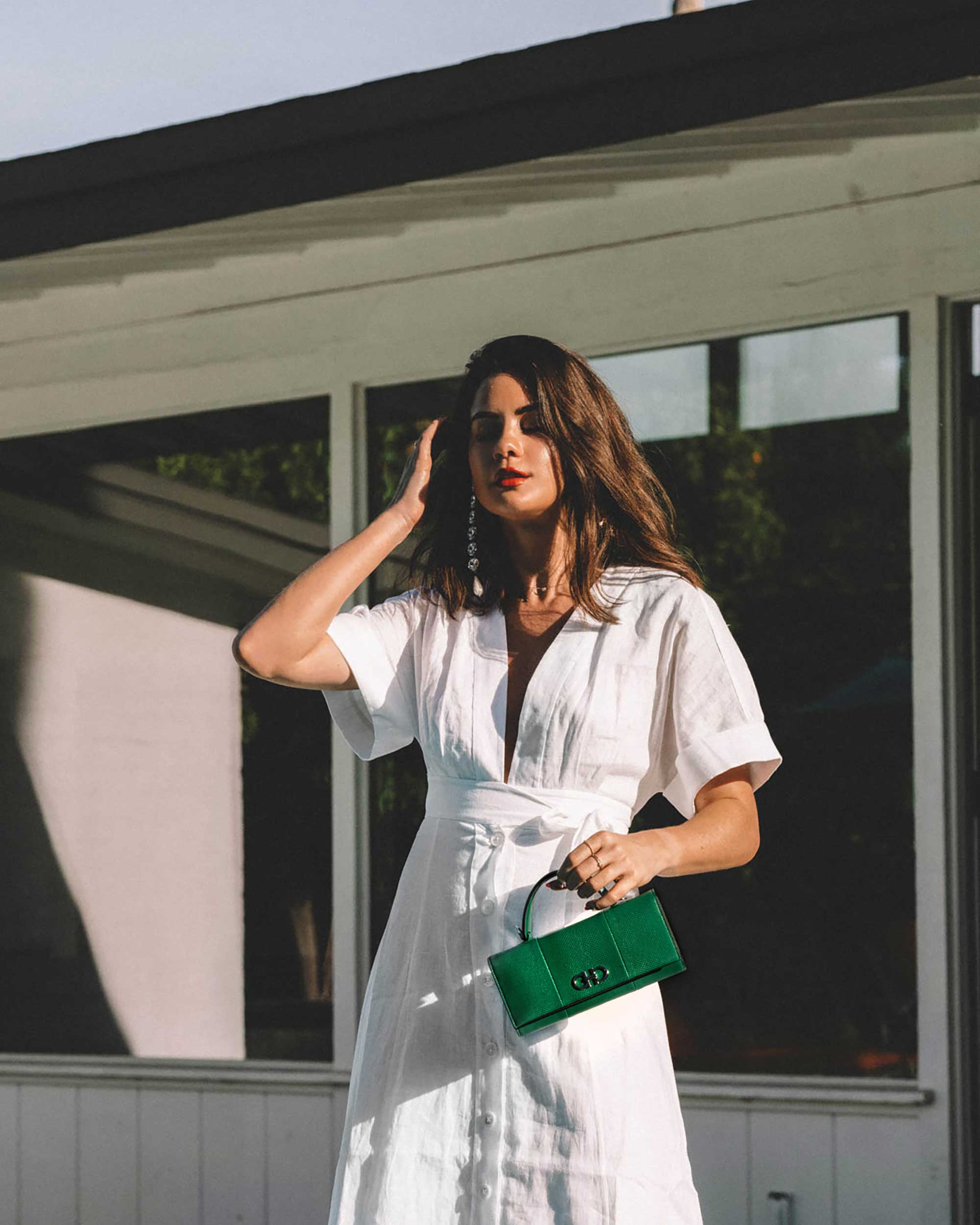 Sarah Butler of Sarah Styles Seattle wears Nauman Linen Dress in Bright White and Ferragamo Mini Gancini Top Handle Wallet in Palm Springs Outfit | @sarahchristine -5.jpg