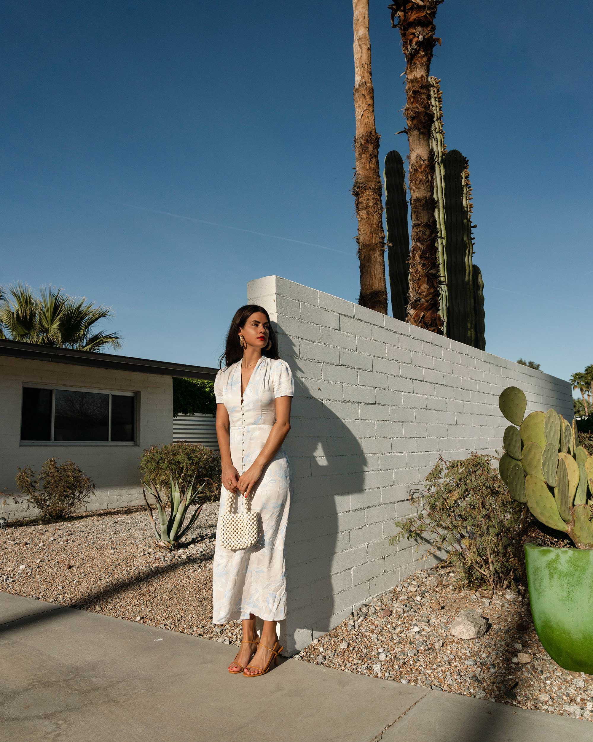 Sarah Butler of Sarah Styles Seattle wears Equipment Gaetan button front floral midi dress and ROSANTICA Patti beaded tote in Palm Springs Outfit | @sarahchristine -8.jpg