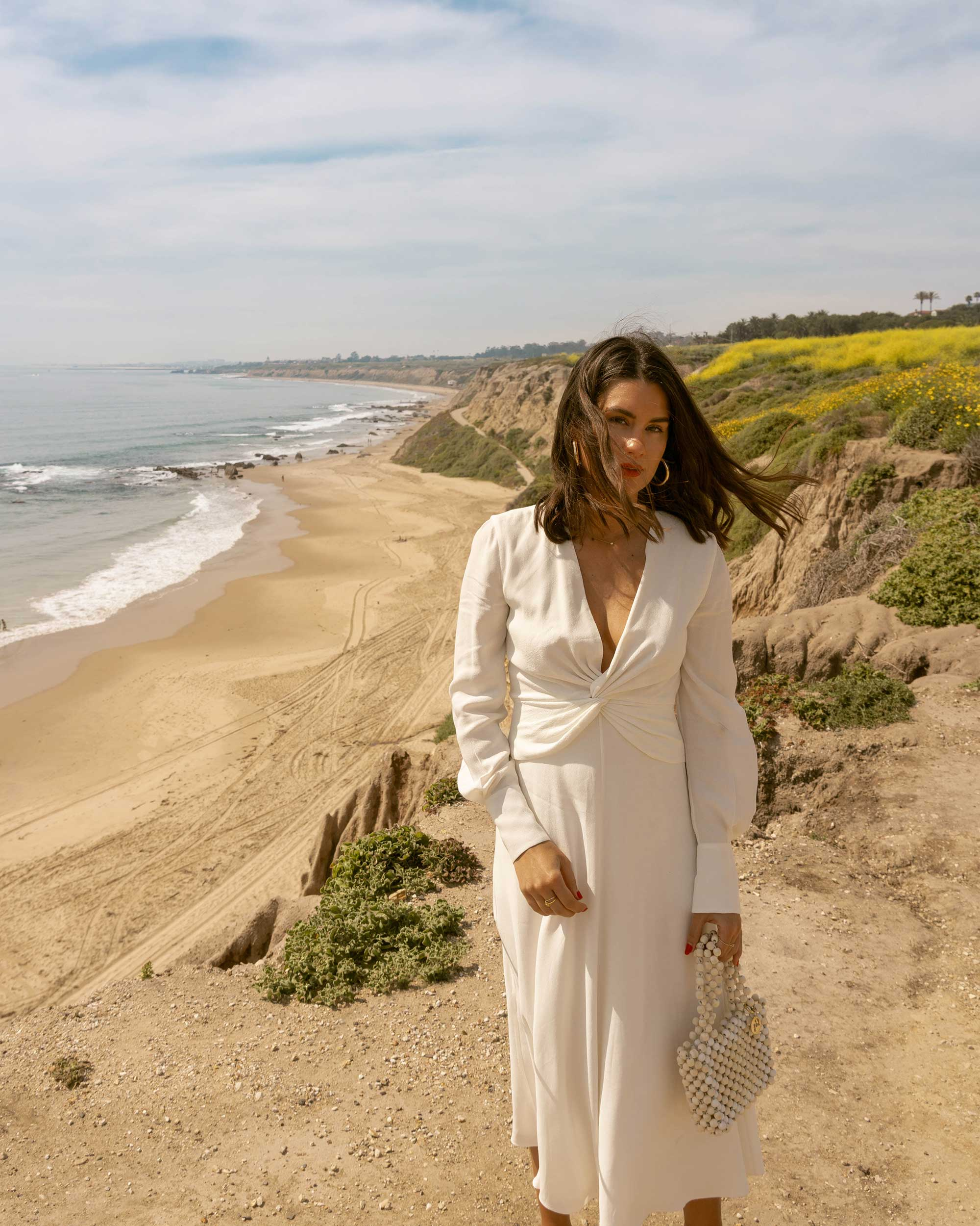Sarah Butler of Sarah Styles Seattle wears Equipment Faun crepe midi dress in white with a flatteringly knotted front and plunging neckline for the perfect spring outfit | @sarahchristine -10.jpg