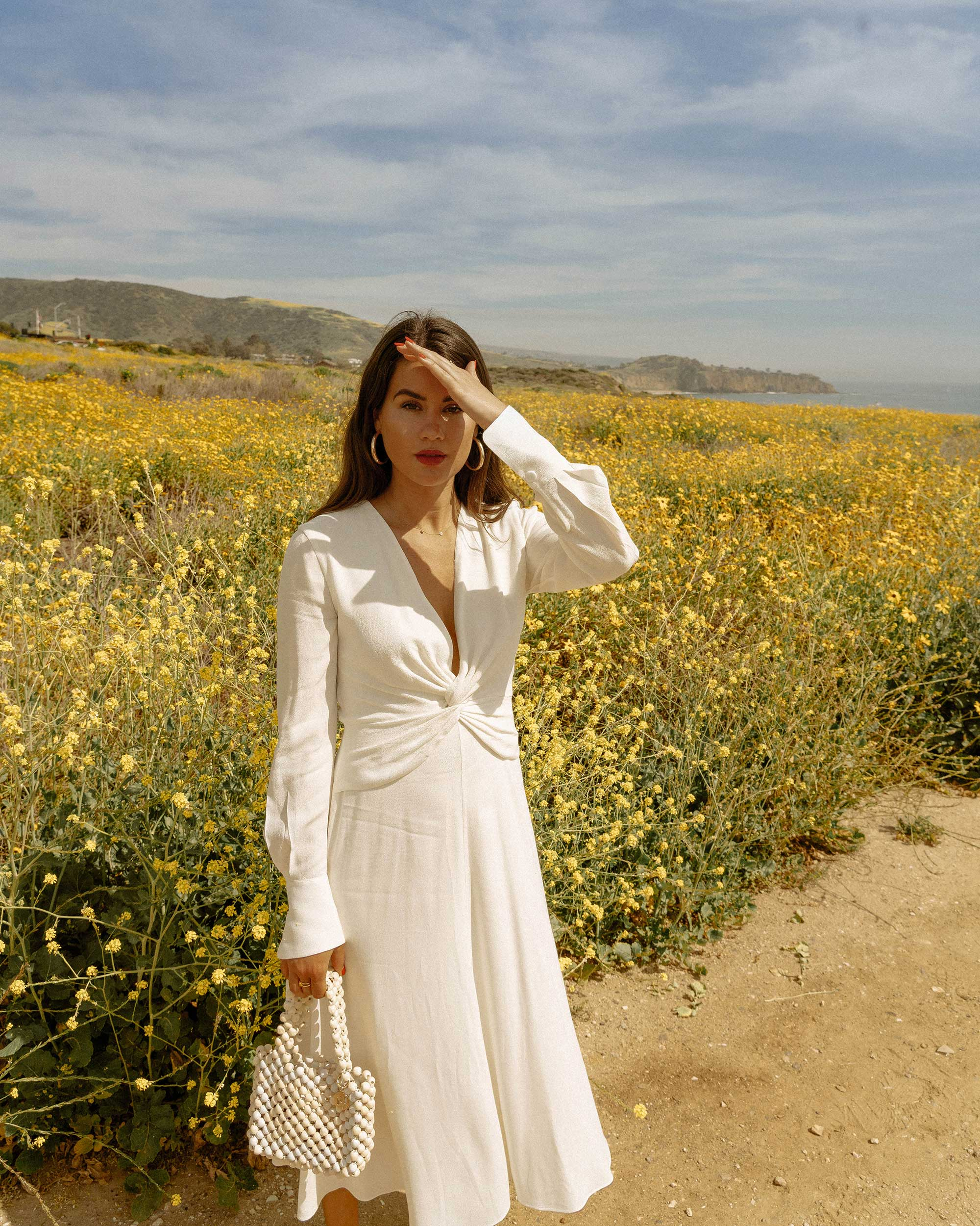 Sarah Butler of Sarah Styles Seattle wears Equipment Faun crepe midi dress in white with a flatteringly knotted front and plunging neckline for the perfect spring outfit   @sarahchristine -9.jpg