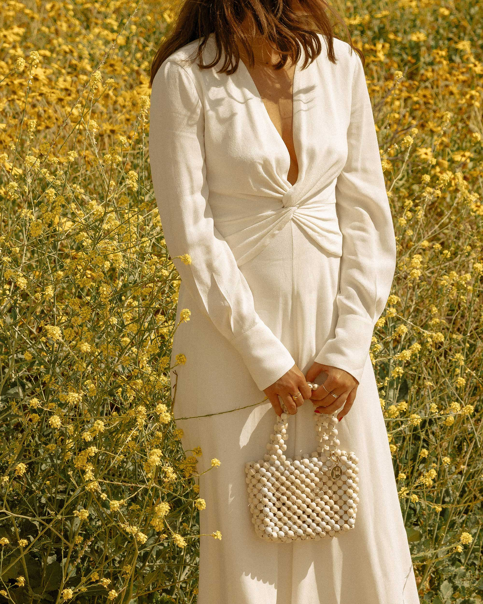 Sarah Butler of Sarah Styles Seattle wears Equipment Faun crepe midi dress in white with a flatteringly knotted front and plunging neckline for the perfect spring outfit   @sarahchristine -6.jpg