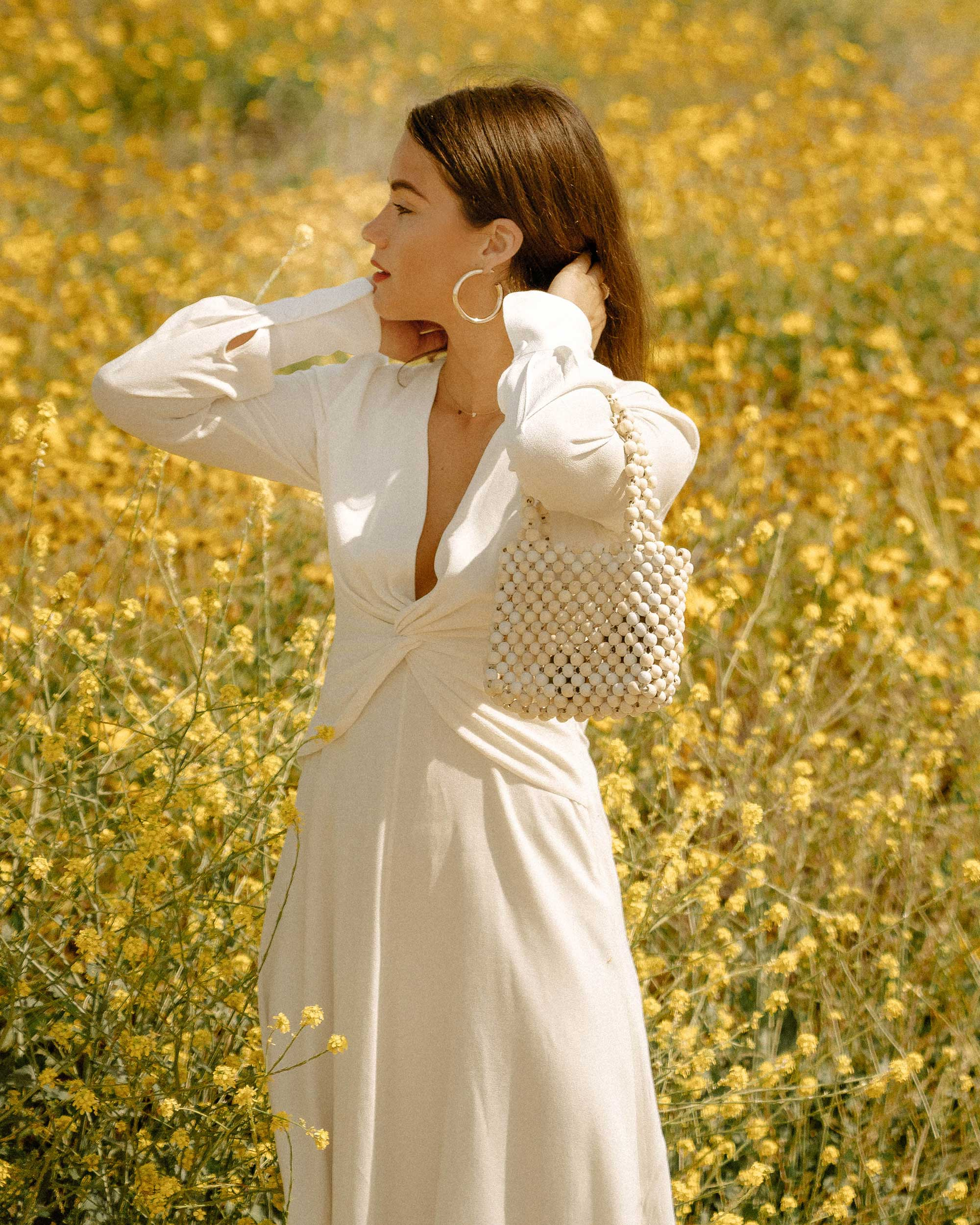 Sarah Butler of Sarah Styles Seattle wears Equipment Faun crepe midi dress in white with a flatteringly knotted front and plunging neckline for the perfect spring outfit   @sarahchristine -8.jpg