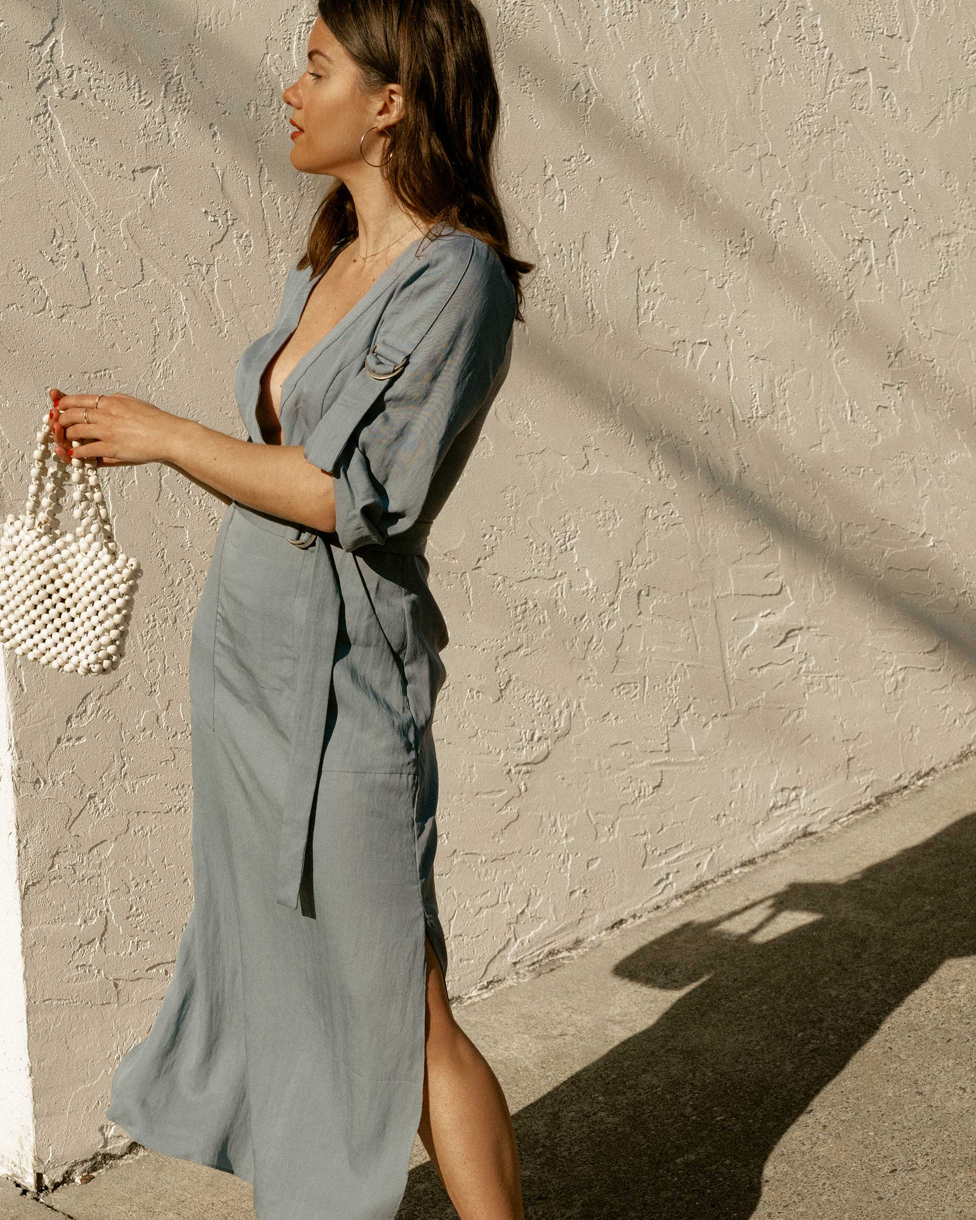 Blue for Spring - BCBGMAXAZRIA wrap trench dress in blue for the perfect spring outfit