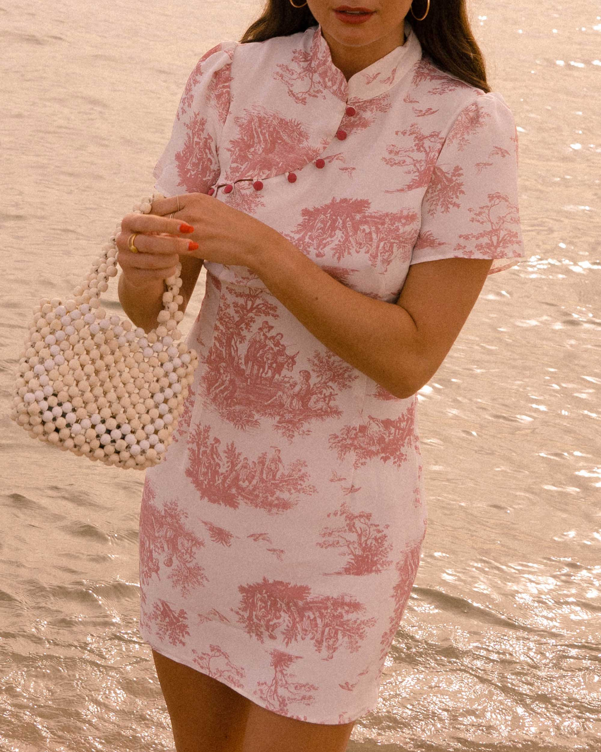 Sarah Butler of Sarah Styles Seattle wears Stone Cold Fox Lure Pink Toile Print Mini Dress in Newport Beach, California for the perfect spring outfit | @sarahchristine -3.jpg