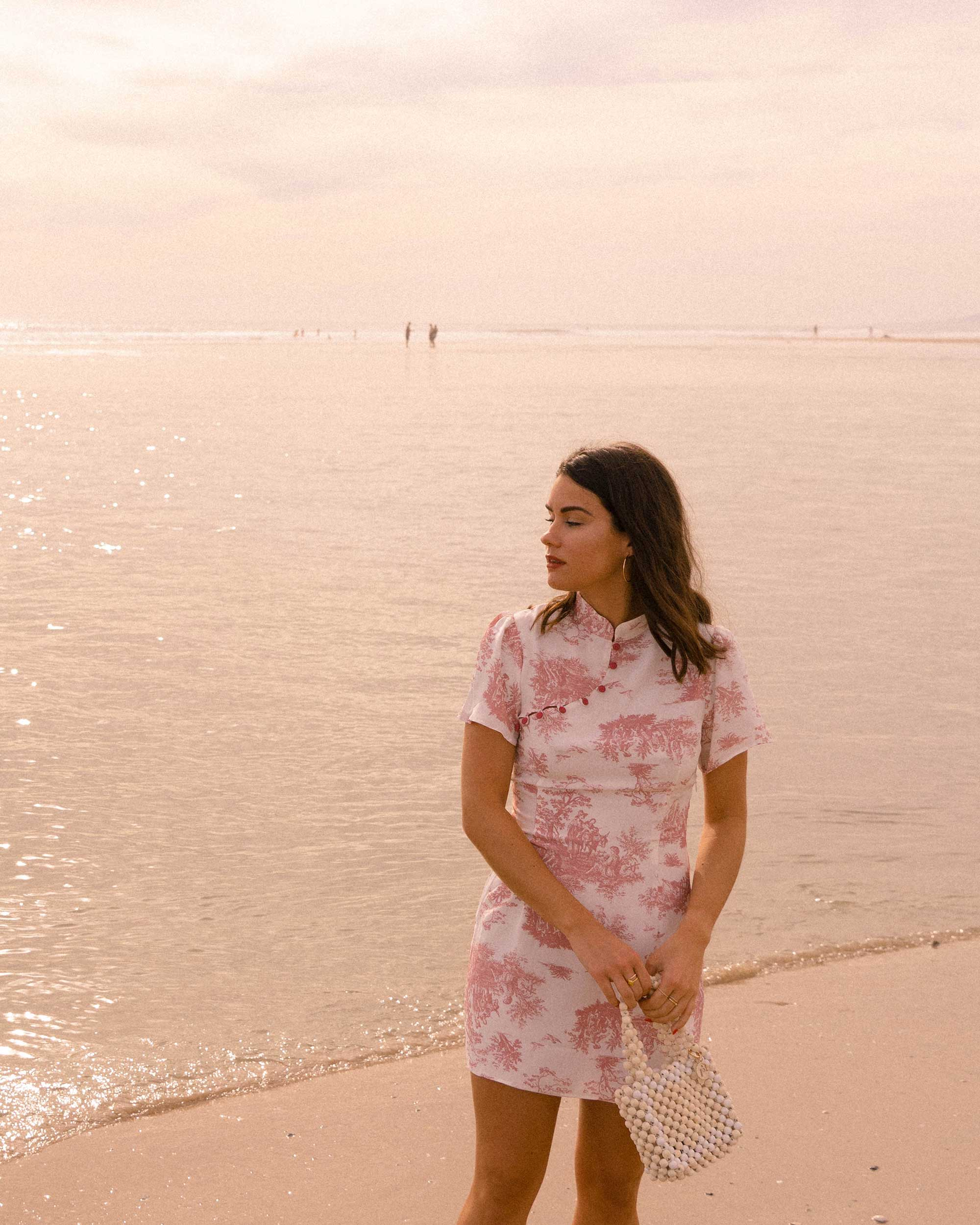 Sarah Butler of Sarah Styles Seattle wears Stone Cold Fox Lure Pink Toile Print Mini Dress in Newport Beach, California for the perfect spring outfit | @sarahchristine -2.jpg