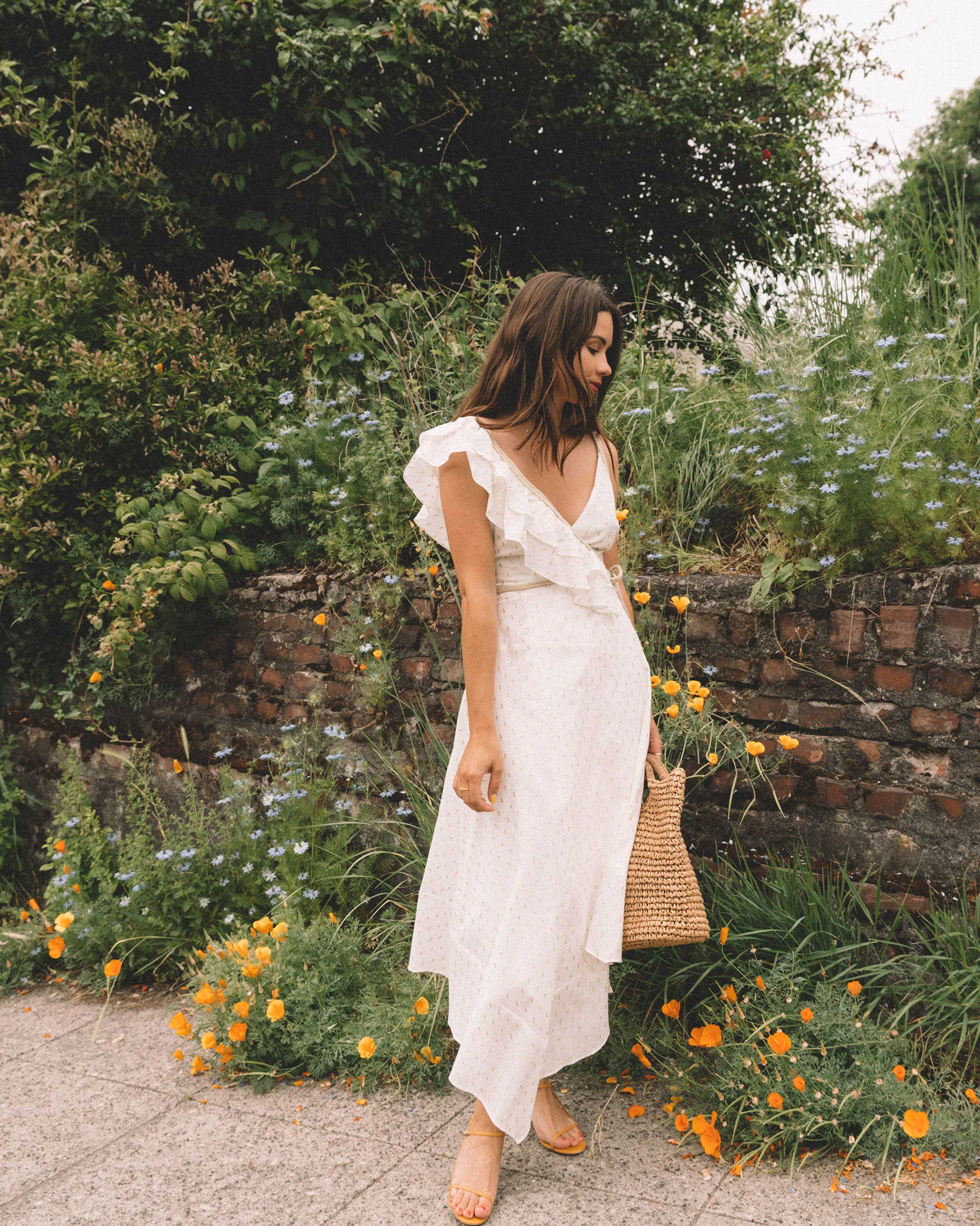 Sarah Butler of Sarah Styles Seattle wears BCBGMAXAZRIA White Asymmetric Midi Wrap Dress for the perfect summer outfit | @sarahchristine -5.jpg