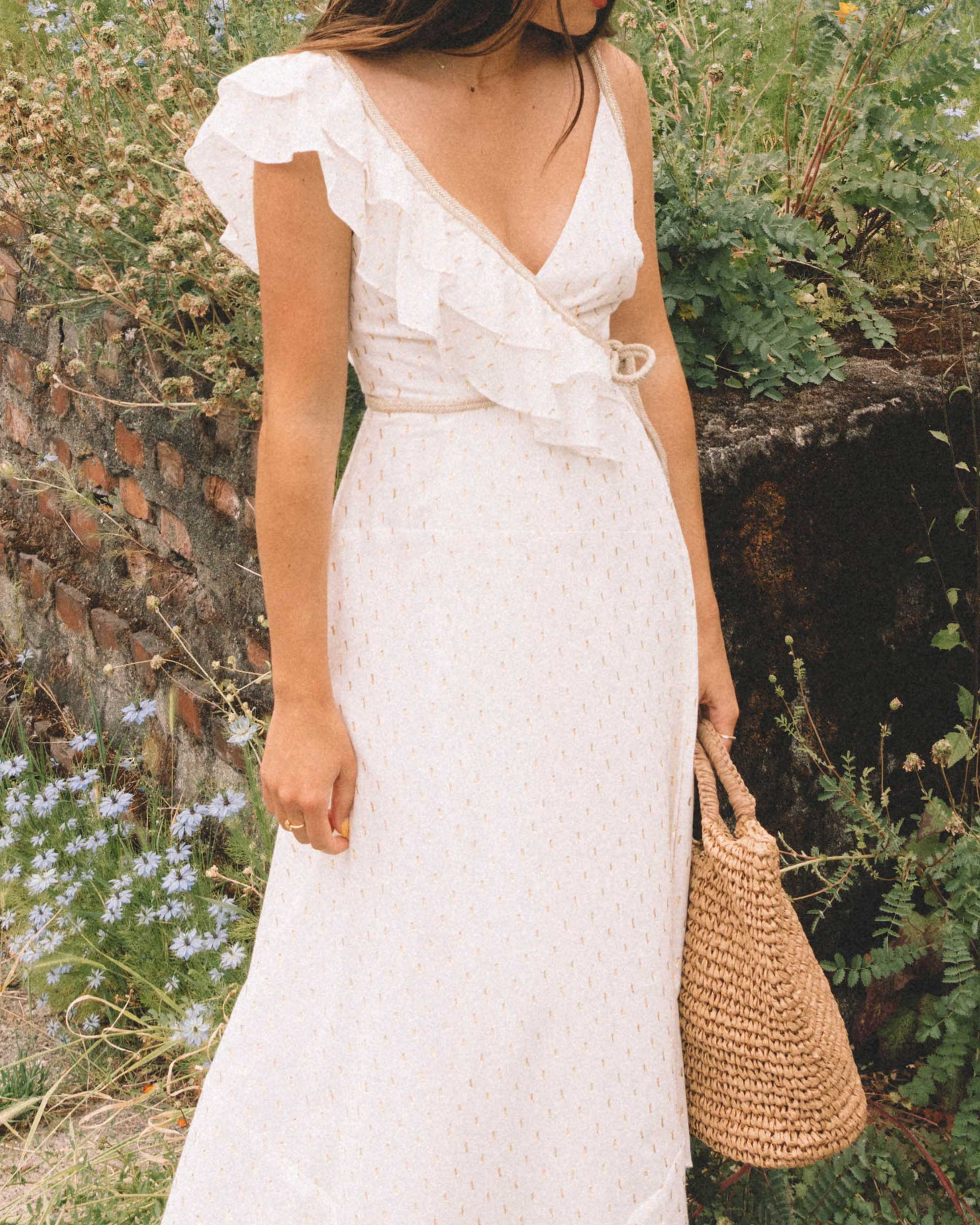 Sarah Butler of Sarah Styles Seattle wears BCBGMAXAZRIA White Asymmetric Midi Wrap Dress for the perfect summer outfit | @sarahchristine -4.jpg