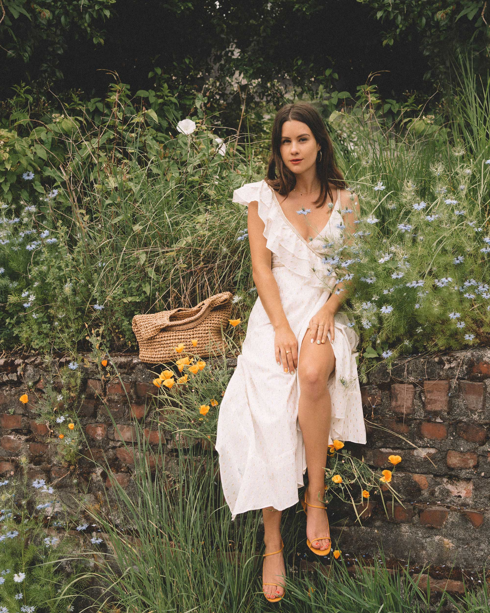 Sarah Butler of Sarah Styles Seattle wears BCBGMAXAZRIA White Asymmetric Midi Wrap Dress for the perfect summer outfit | @sarahchristine -13.jpg