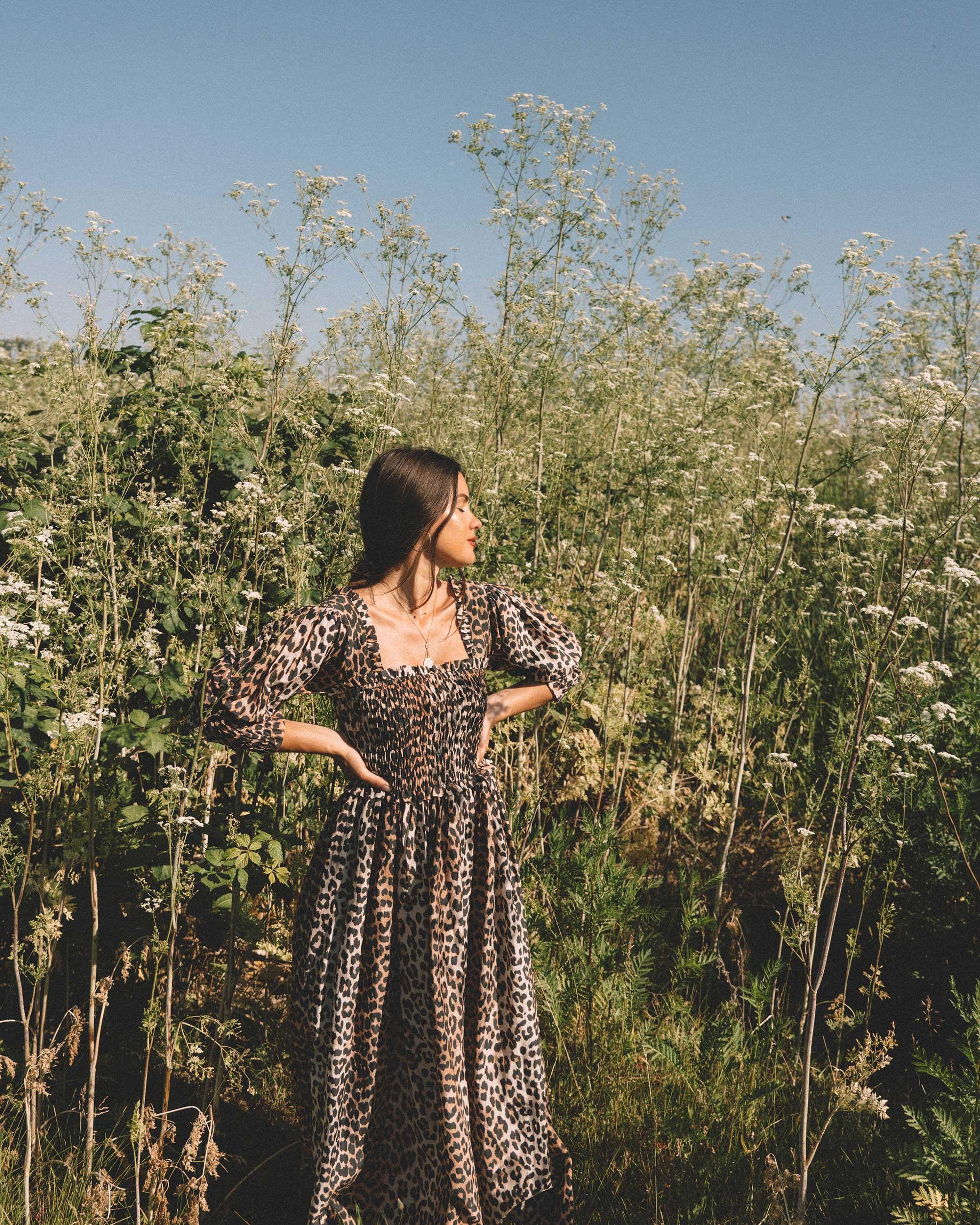 Ganni Girl - Summer feelings in Ganni leopard-print maxi dress and Ganni wide brim hat.