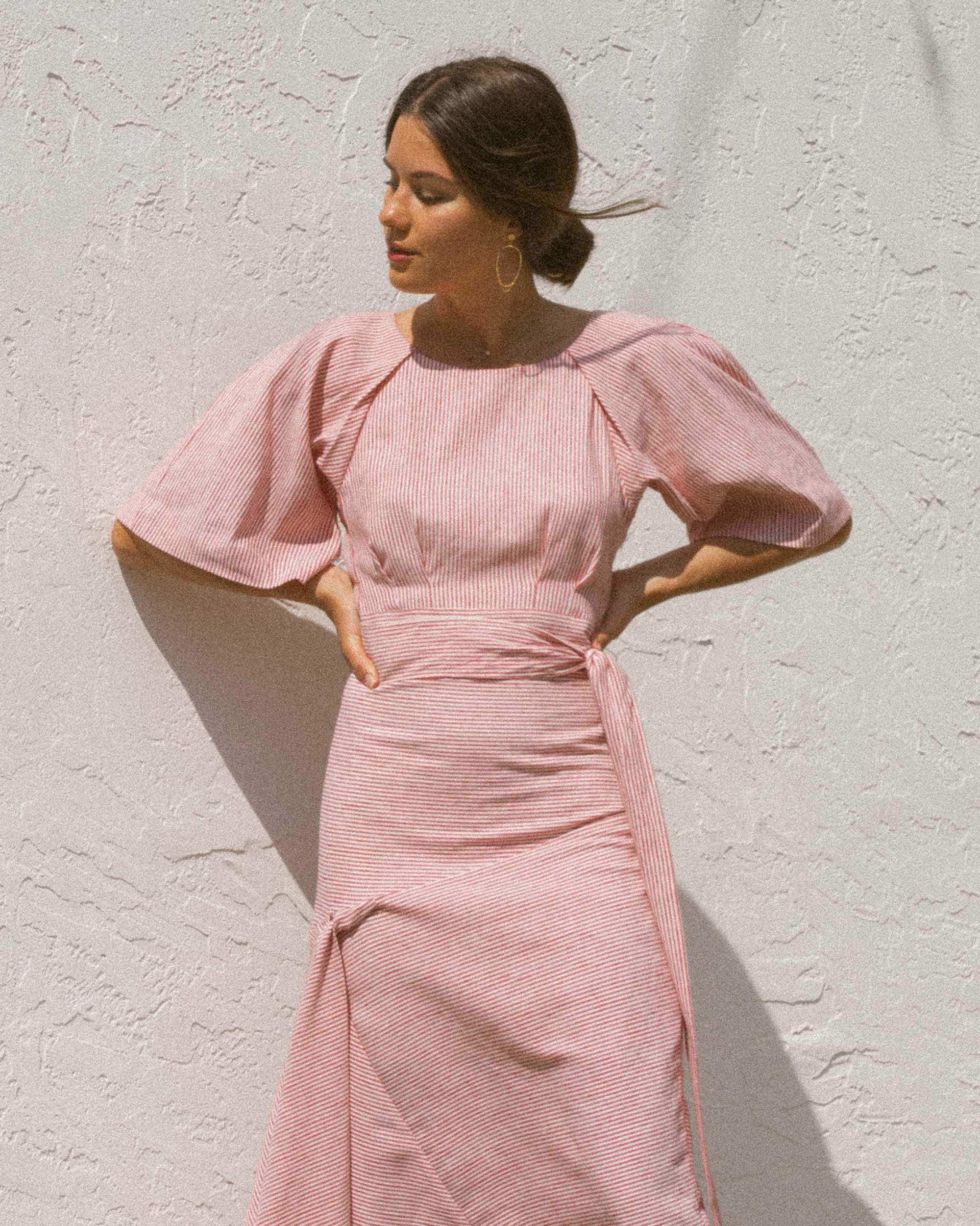 Sarah Butler of Sarah Styles wears BcbgMaxAzria Pinstripe Asymmetric Skirt and Pinstripe Cutout Back Cropped Top in Seattle   @sarahchristine -3.jpg