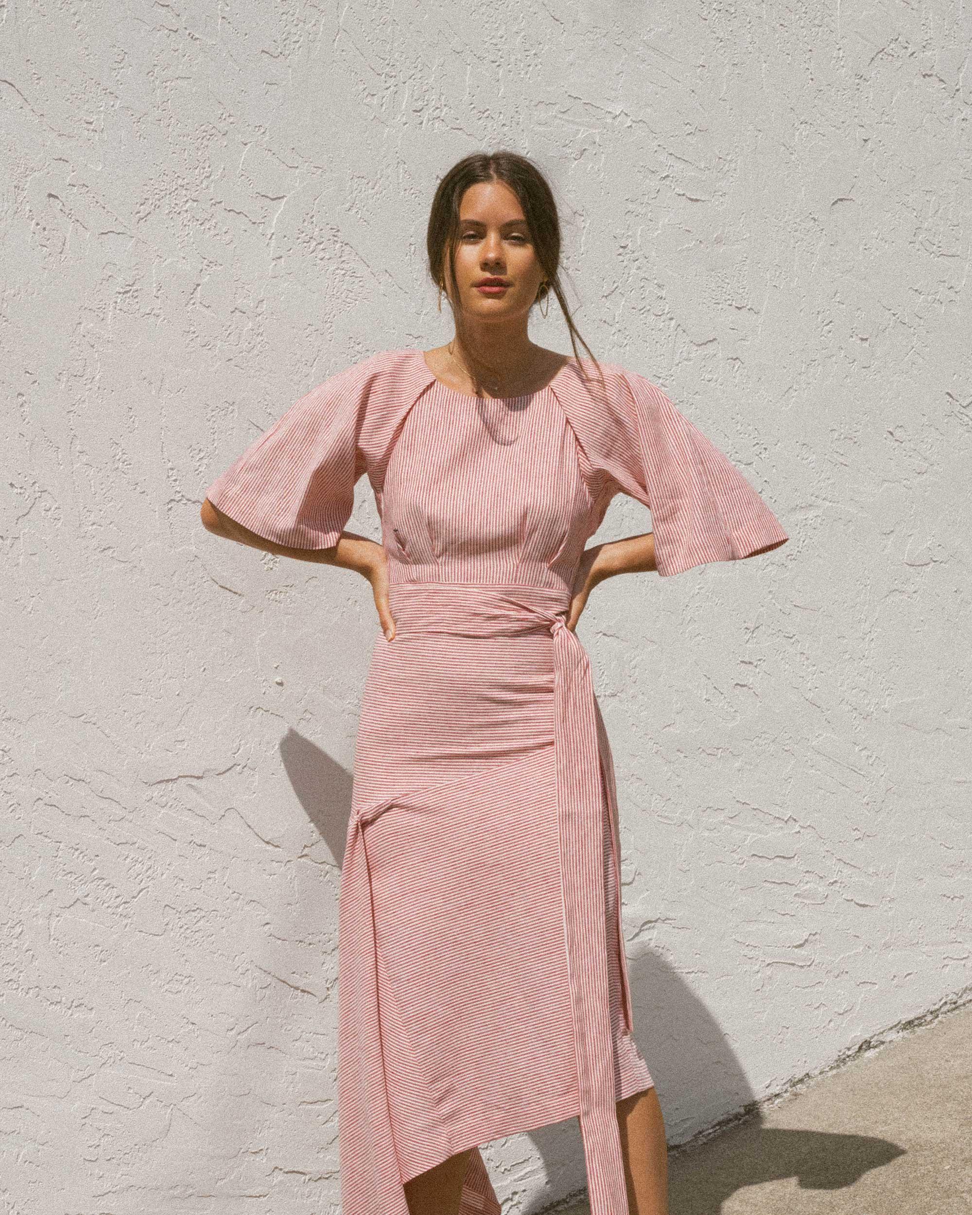 Sarah Butler of Sarah Styles wears BcbgMaxAzria Pinstripe Asymmetric Skirt and Pinstripe Cutout Back Cropped Top in Seattle   @sarahchristine -5.jpg
