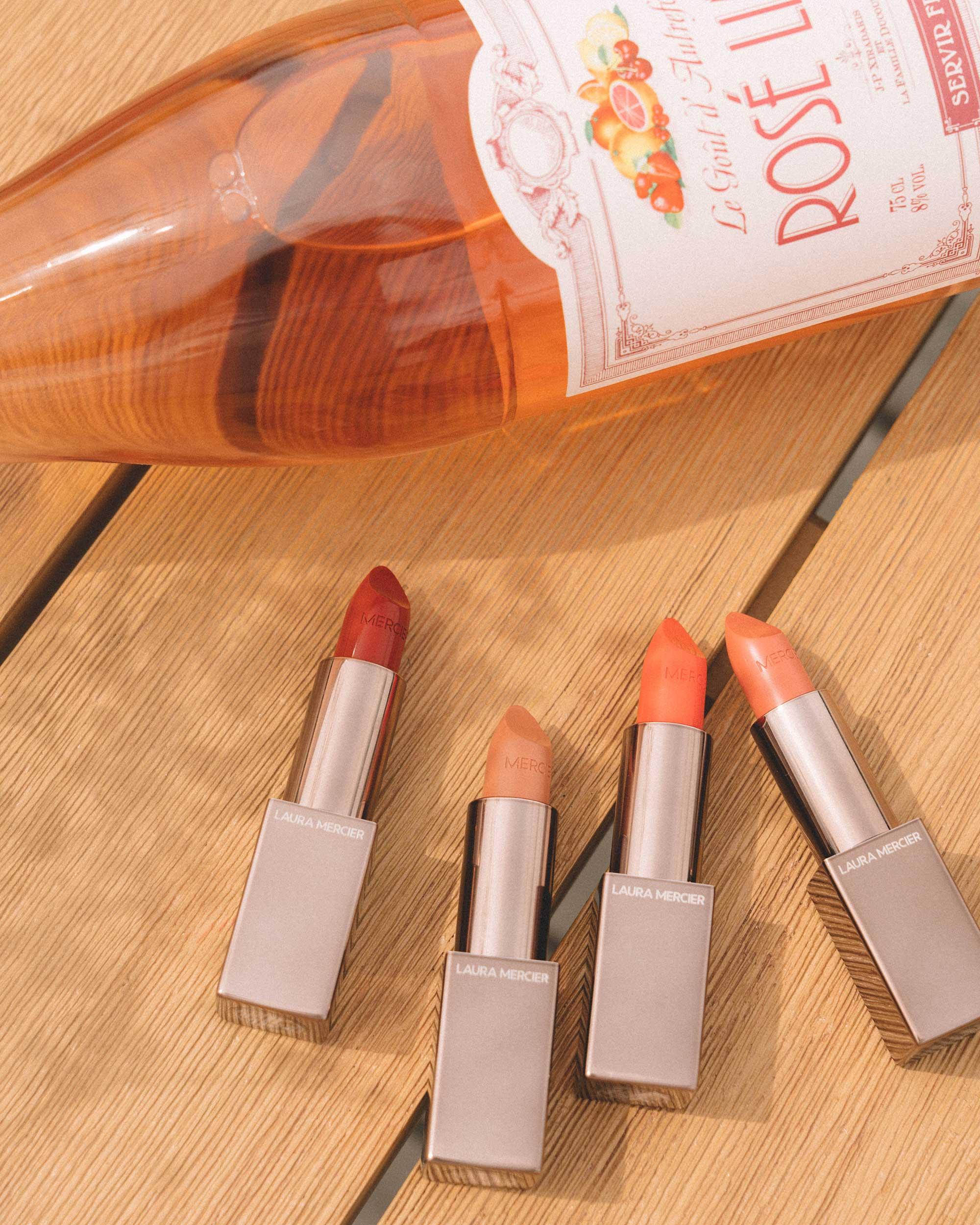 Rouge Essential Silky Creme Lipstick - Laura Mercier Rouge Essential Silky Creme Lipstick in Rouge Profound, Brun Pale, L'Orange, & Nude Nouveau (left to right) for intense summer color