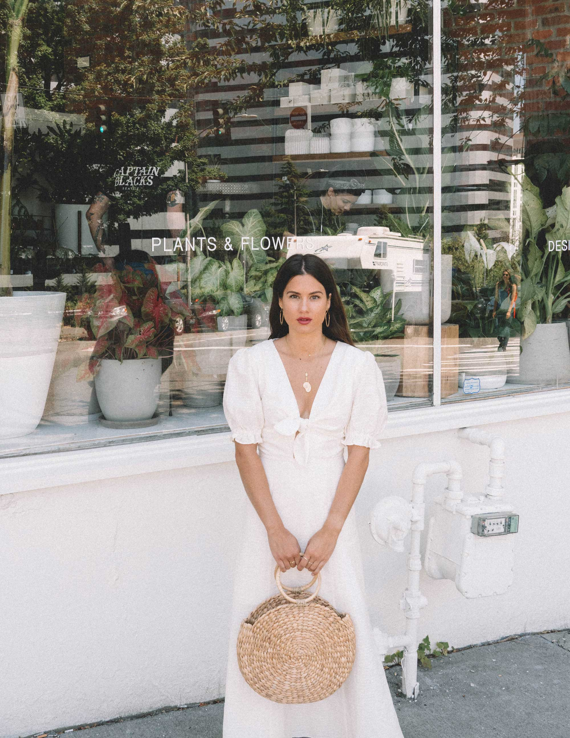 Sarah Butler of Sarah Styles KEEPSAKE FORTUNE White DRESS with puff sleeves and Woven Straw Circle Bag in Seattle | @sarahchristine -3.jpg