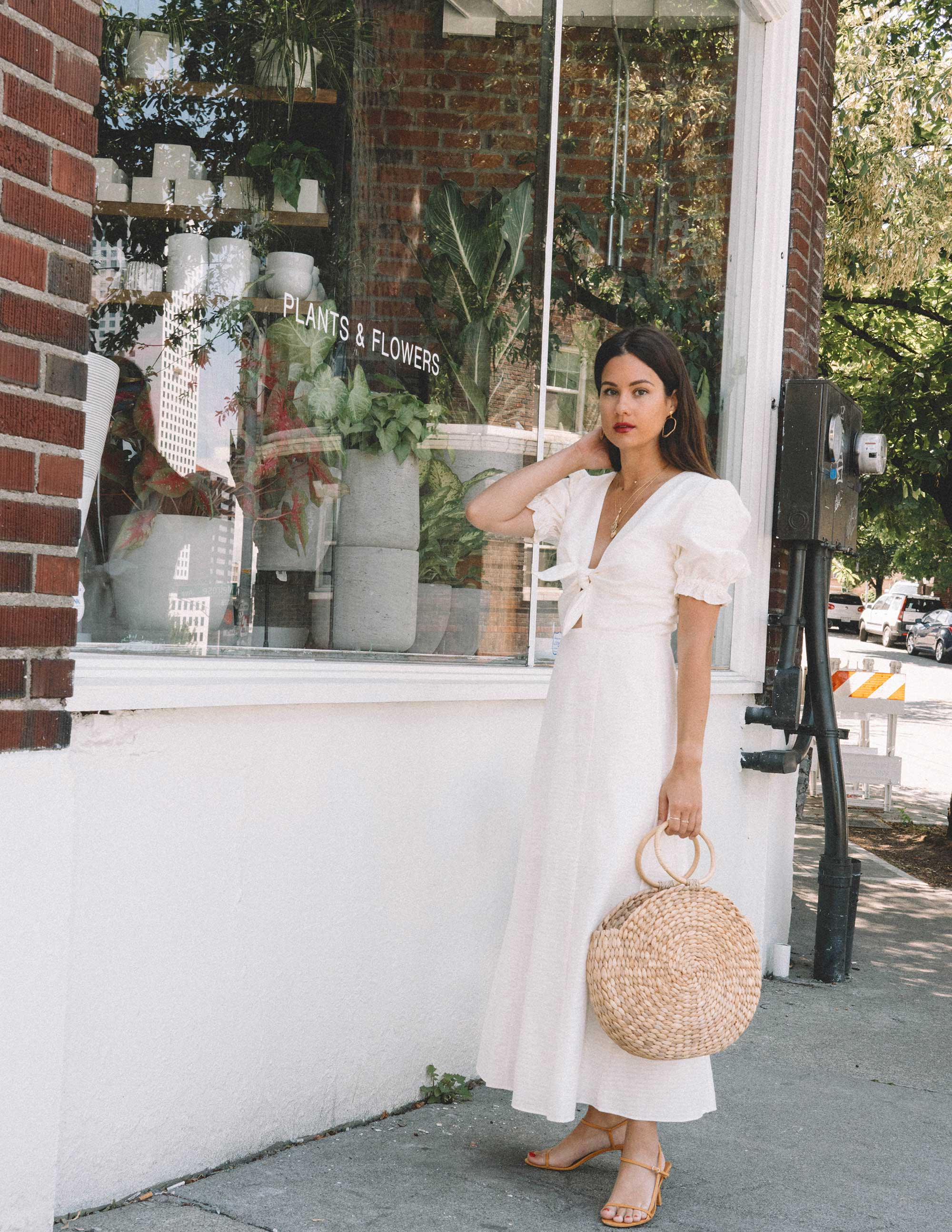 Sarah Butler of Sarah Styles KEEPSAKE FORTUNE White DRESS with puff sleeves and Woven Straw Circle Bag in Seattle | @sarahchristine -5.jpg