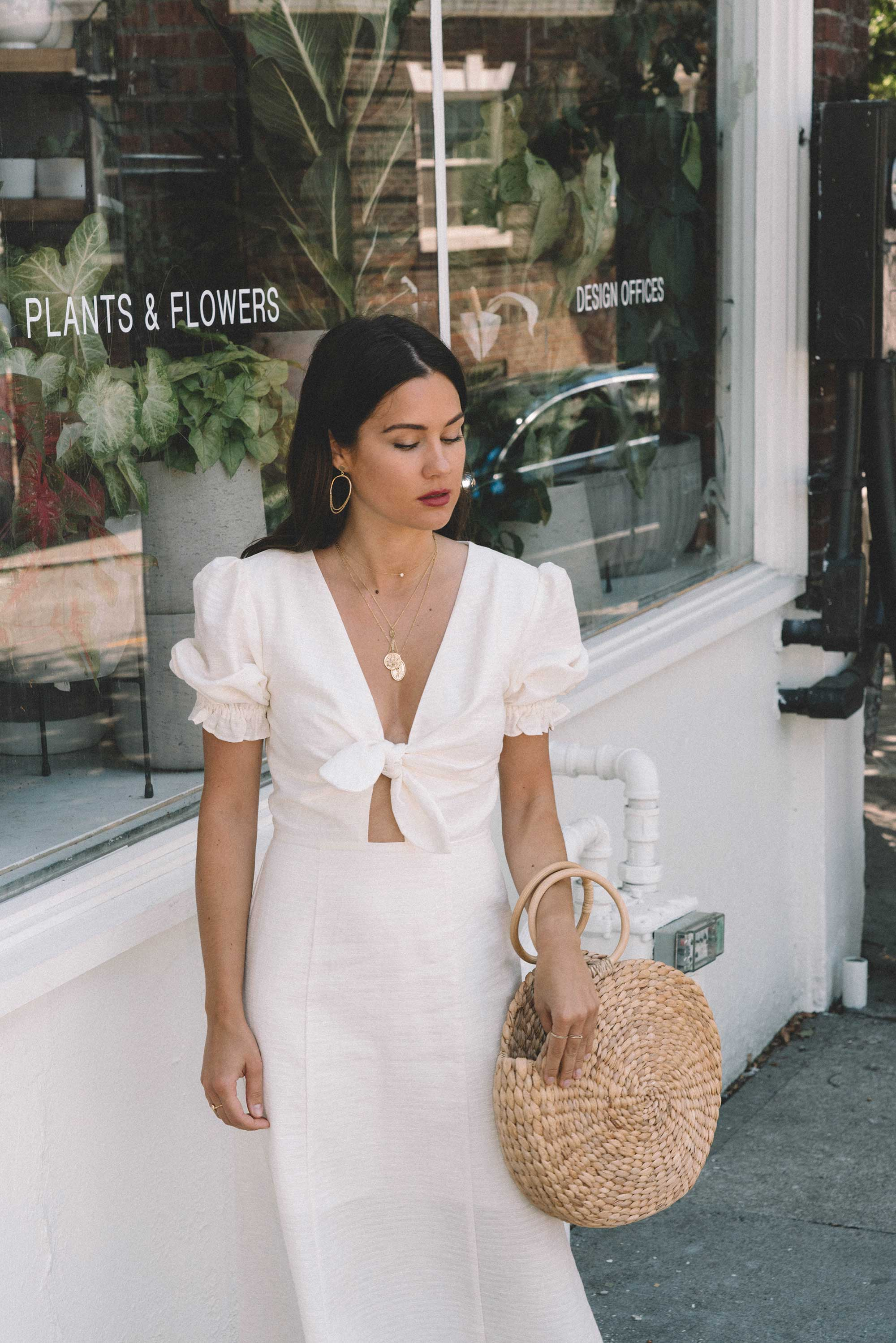 Sarah Butler of Sarah Styles KEEPSAKE FORTUNE White DRESS with puff sleeves and Woven Straw Circle Bag in Seattle | @sarahchristine -8.jpg