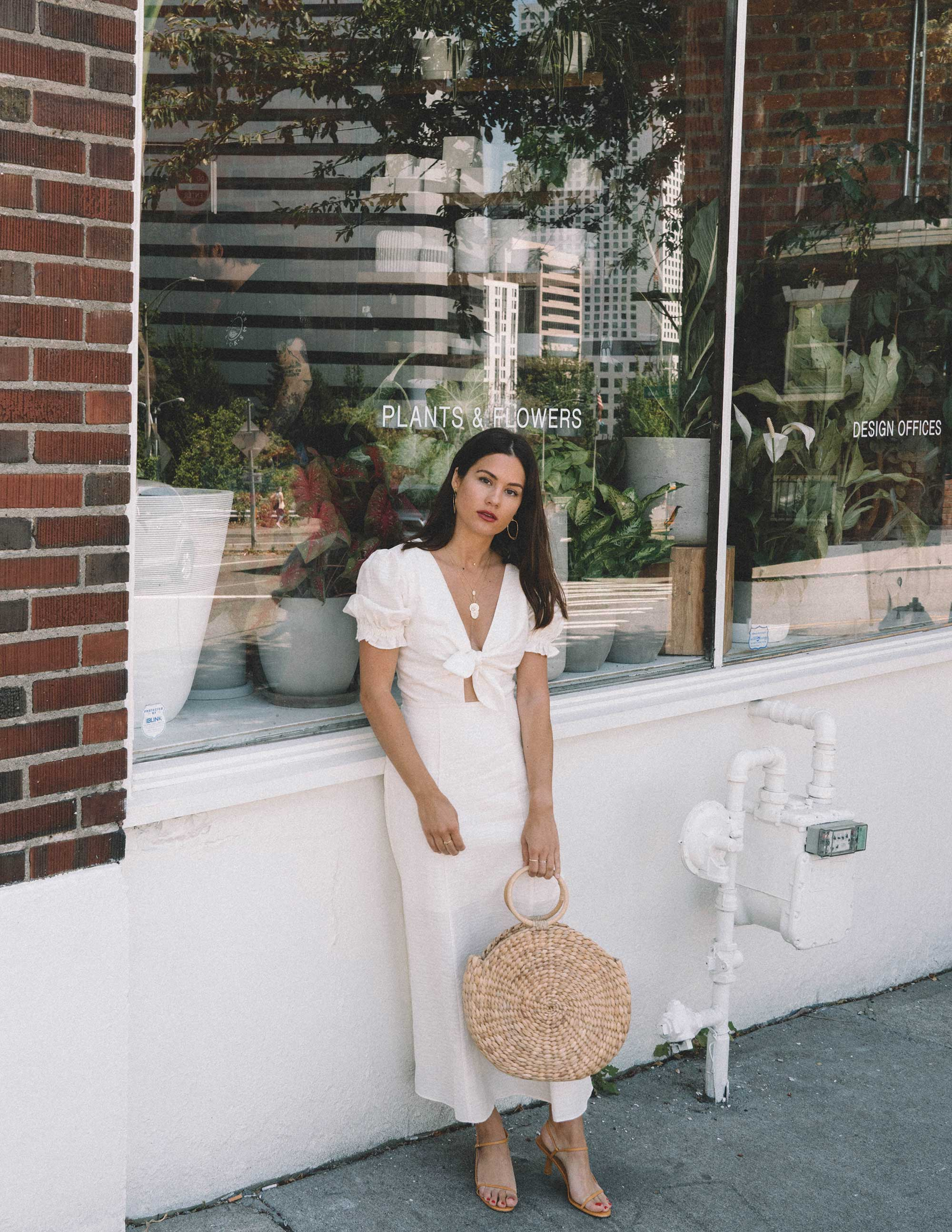 Sarah Butler of Sarah Styles KEEPSAKE FORTUNE White DRESS with puff sleeves and Woven Straw Circle Bag in Seattle | @sarahchristine -10.jpg