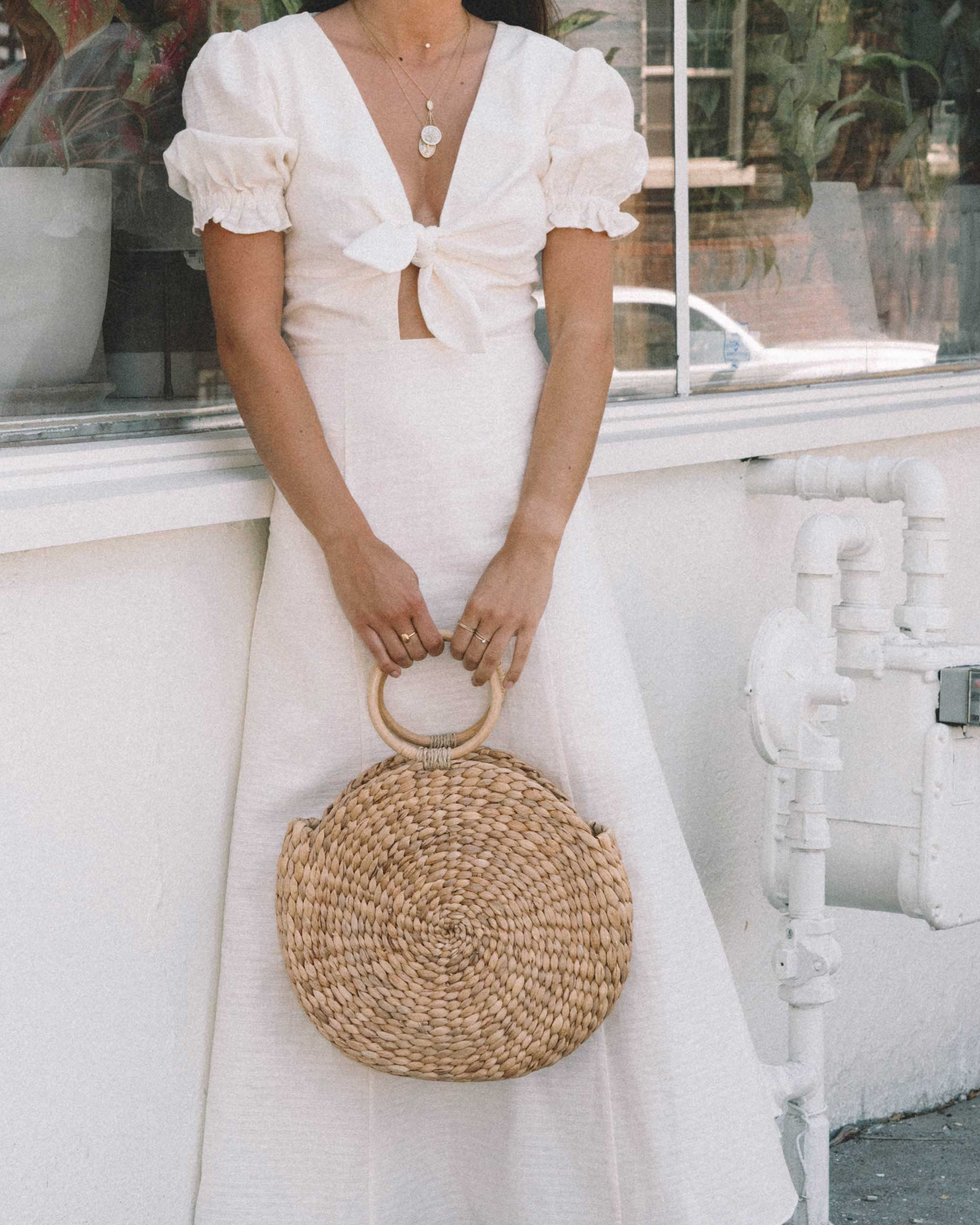 Sarah Butler of Sarah Styles KEEPSAKE FORTUNE White DRESS with puff sleeves and Woven Straw Circle Bag in Seattle | @sarahchristine -12.jpg