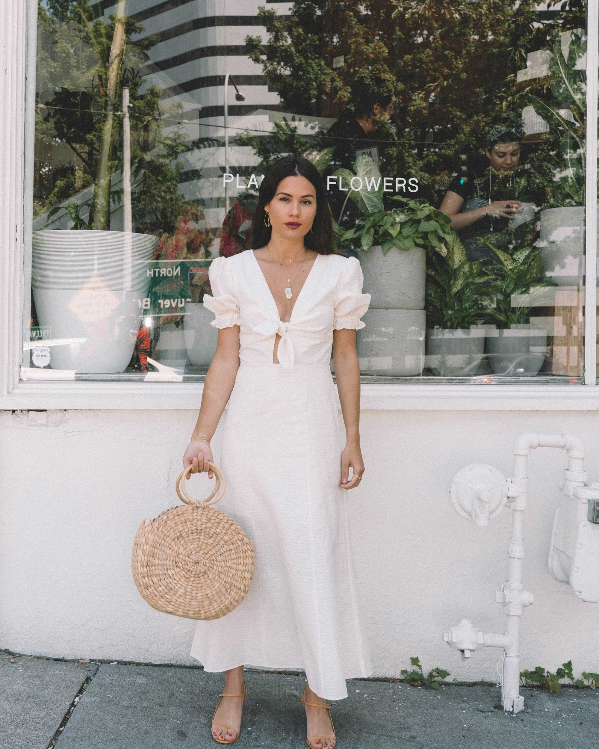 Sarah Butler of Sarah Styles KEEPSAKE FORTUNE White DRESS with puff sleeves and Woven Straw Circle Bag in Seattle | @sarahchristine -15.jpg