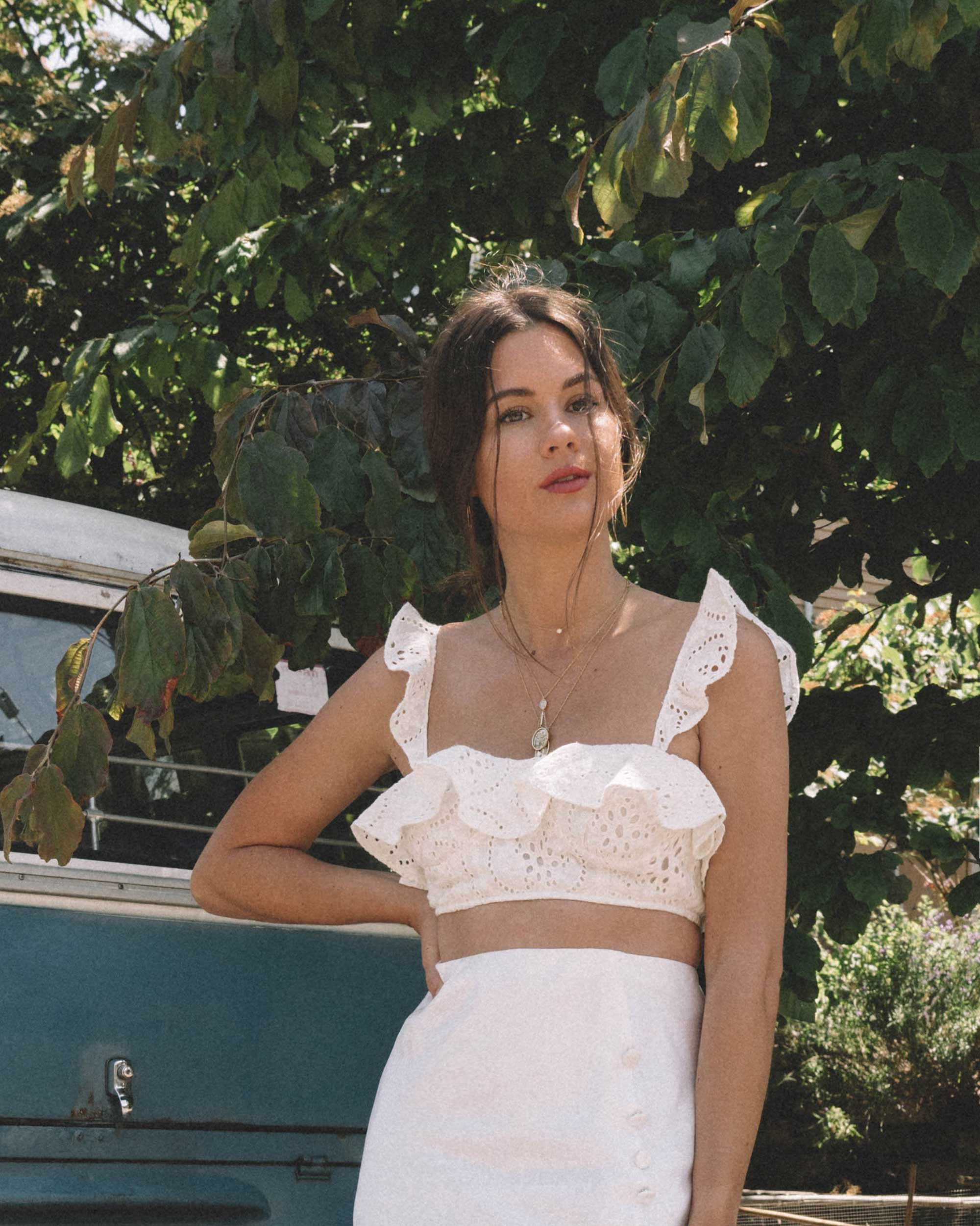 Eyelets & Silk - Beating the heat with this white summer outfit featuring satin bias cut skirt and Lovers + Friends Charlotte white eyelet bralette in Seattle.
