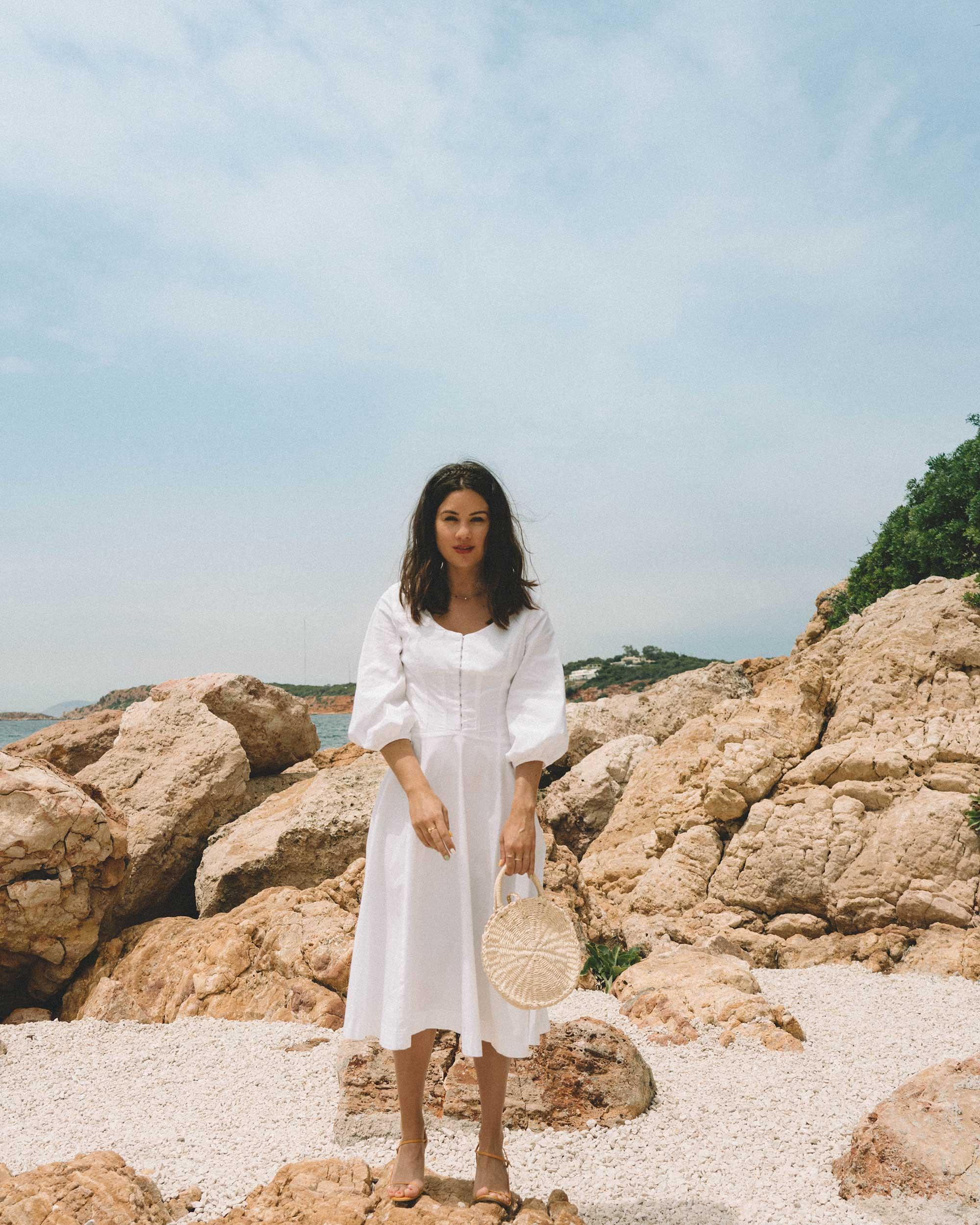 Sarah Butler of Sarah Styles wearing Staud Birdie Midi Flare Peasant Dress in Greece   @sarahchristine -5.jpg
