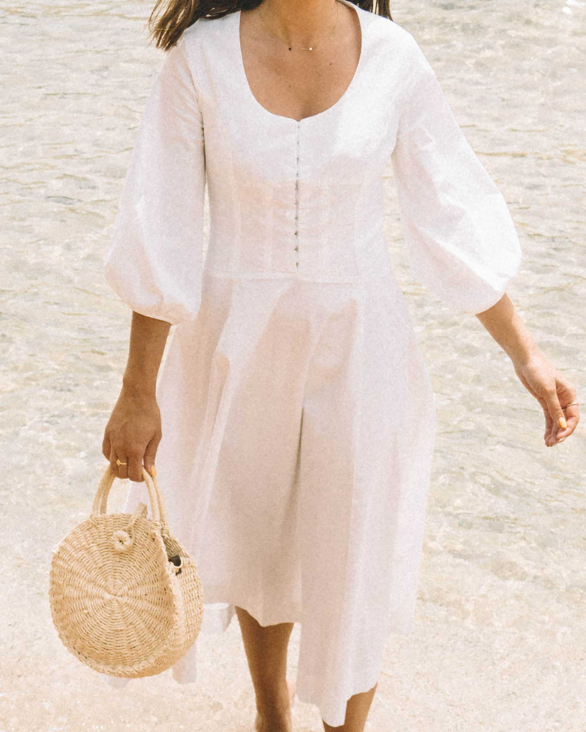 Sarah Butler of Sarah Styles wearing Staud Birdie Midi Flare Peasant Dress in Greece   @sarahchristine -3.jpg