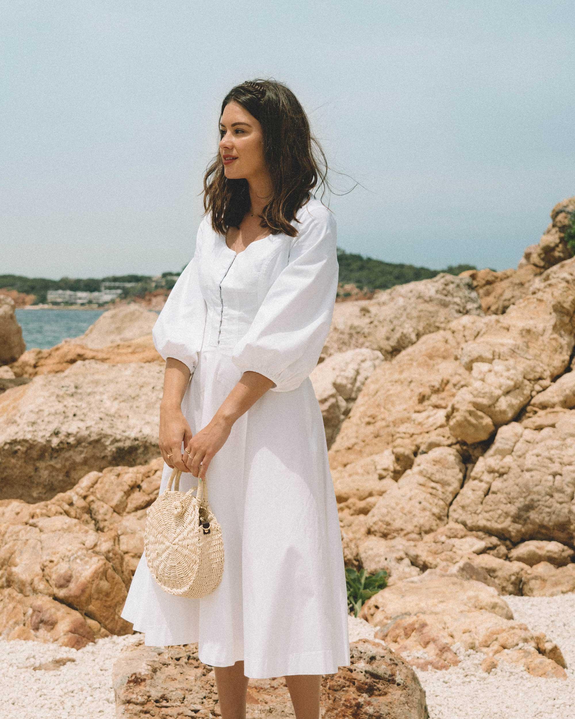 Sarah Butler of Sarah Styles wearing Staud Birdie Midi Flare Peasant Dress in Greece   @sarahchristine -1.jpg