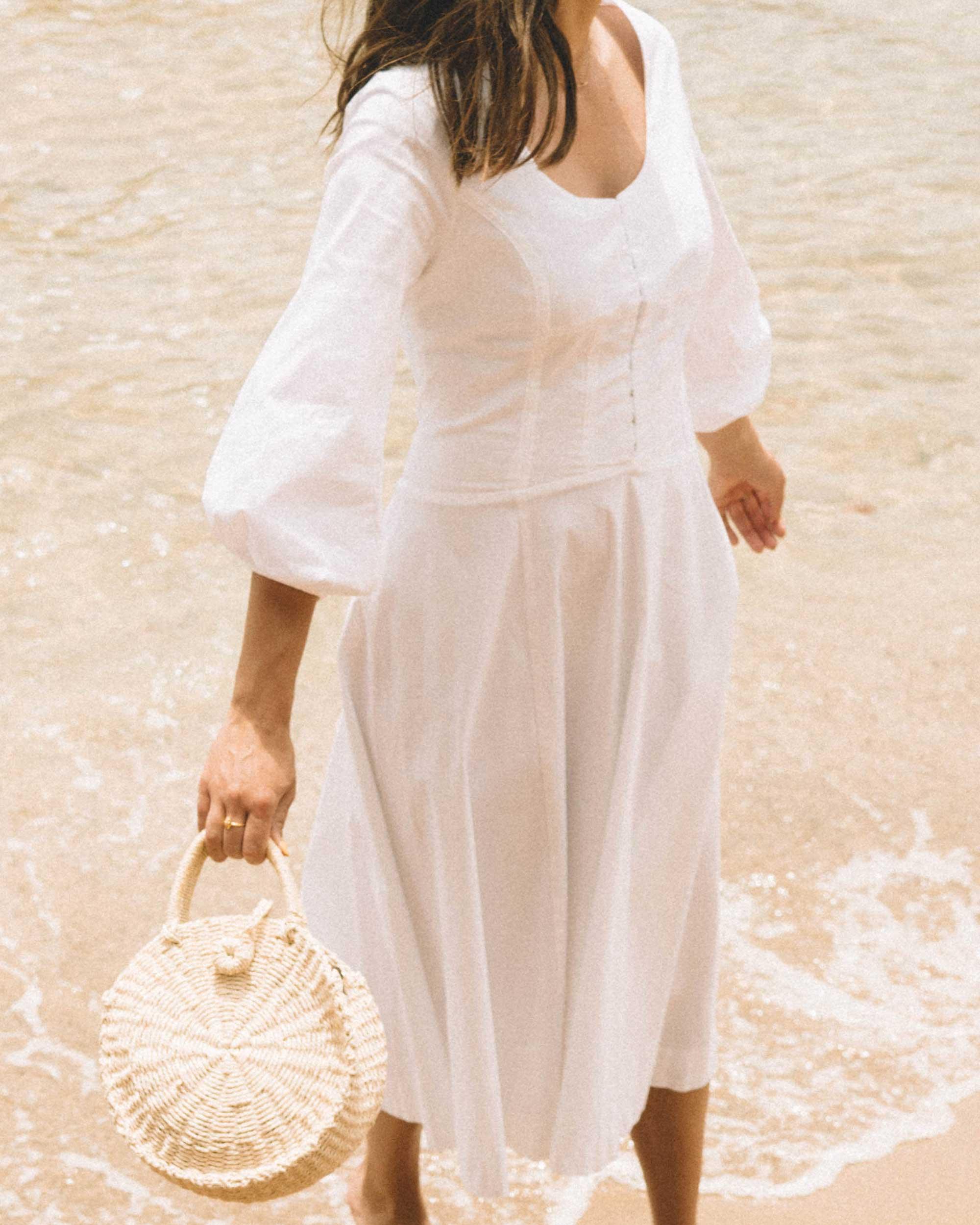 Sarah Butler of Sarah Styles wearing Staud Birdie Midi Flare Peasant Dress in Greece   @sarahchristine -2.jpg