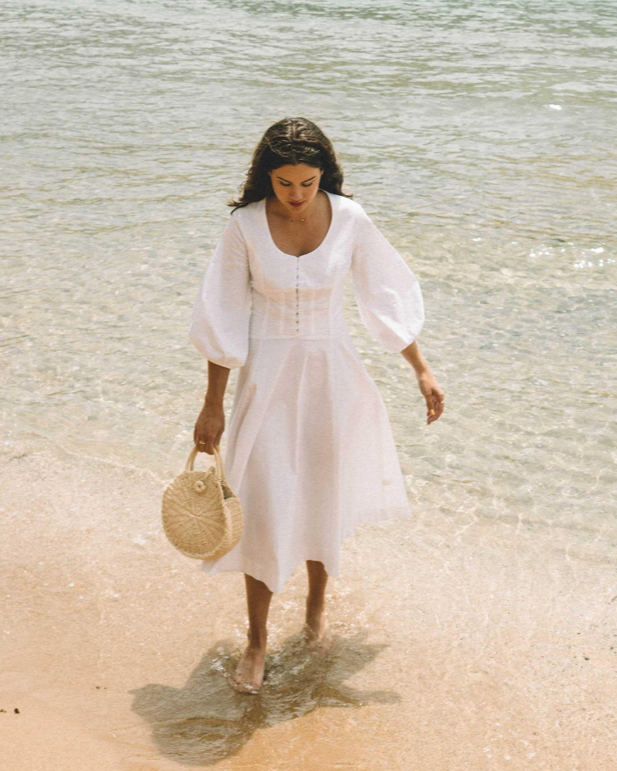 Staud in Greece - Seaside in Staud Birdie midi flare peasant dress in Athens, Greece