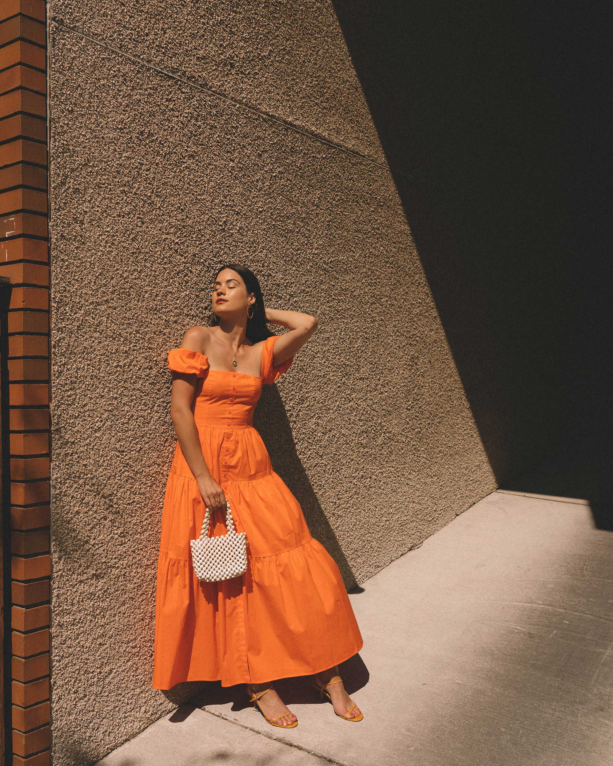 Sarah Butler of Sarah Styles wearing Staud Elio off-the-shoulde Puff Sleeve Prairie Dress in Seattle   @sarahchristine ---1.jpg