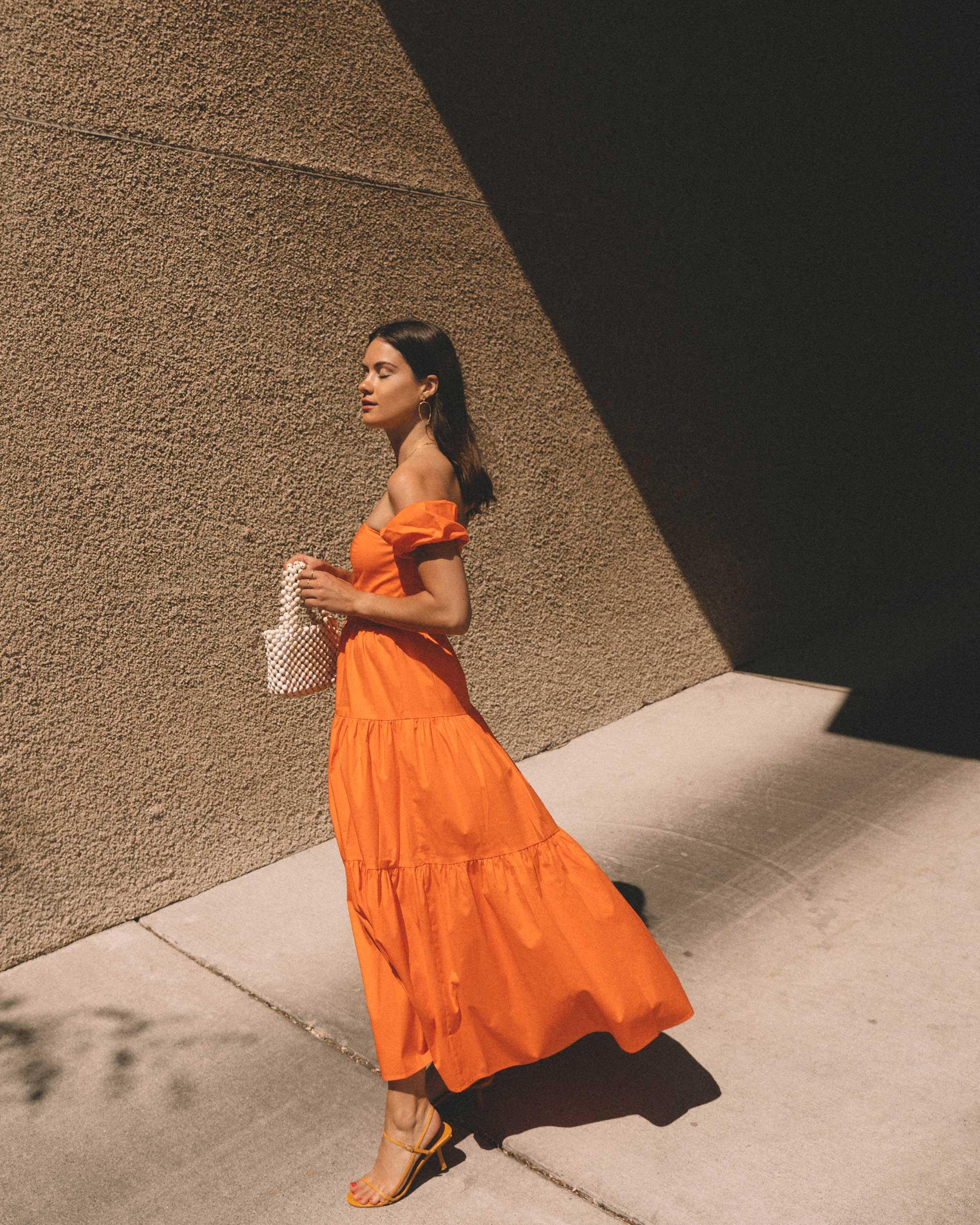 Sarah Butler of Sarah Styles wearing Staud Elio off-the-shoulde Puff Sleeve Prairie Dress in Seattle   @sarahchristine -3.jpg